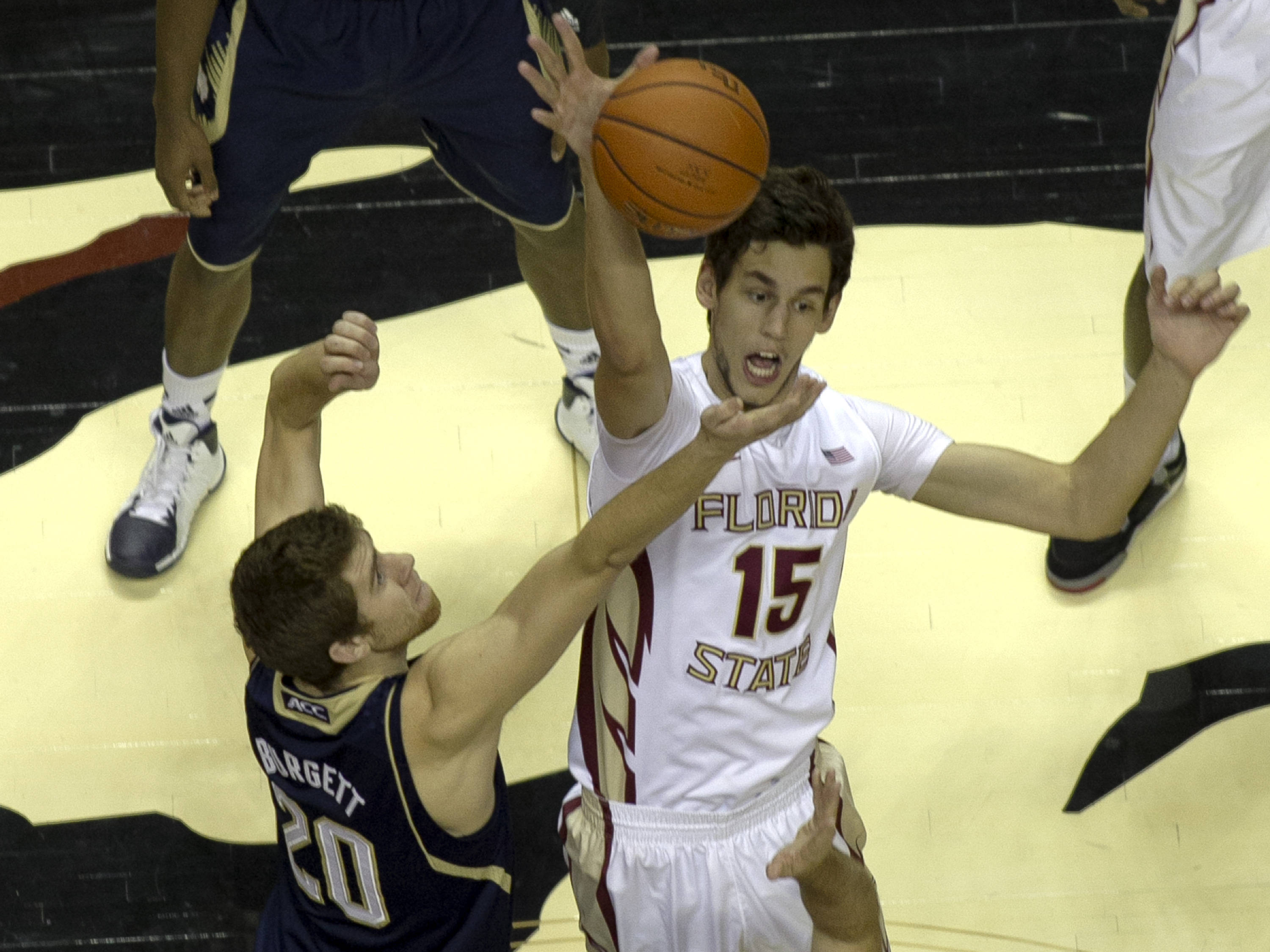 Boris Bojanovsky (15) wins the opening tip-off, FSU vs Notre Dame, 1-21-14, (Photo's by Steve Musco)
