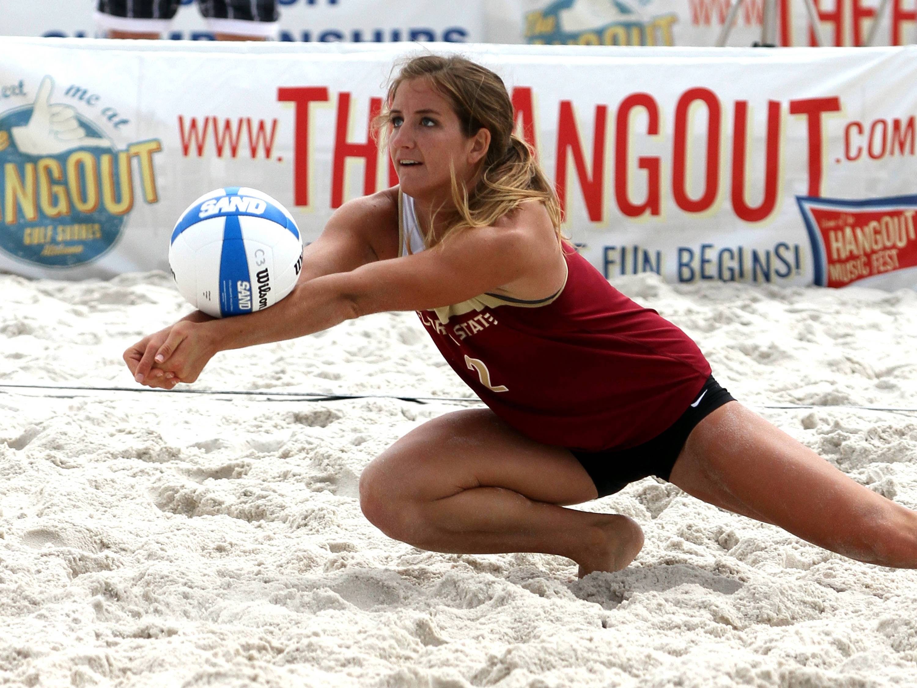Aurora Davis (2), AVCA Collegiate Sand Volleyball National Championships,  Gulf Shores, Alabama,05/03/13 . (Photo by Steve Musco)