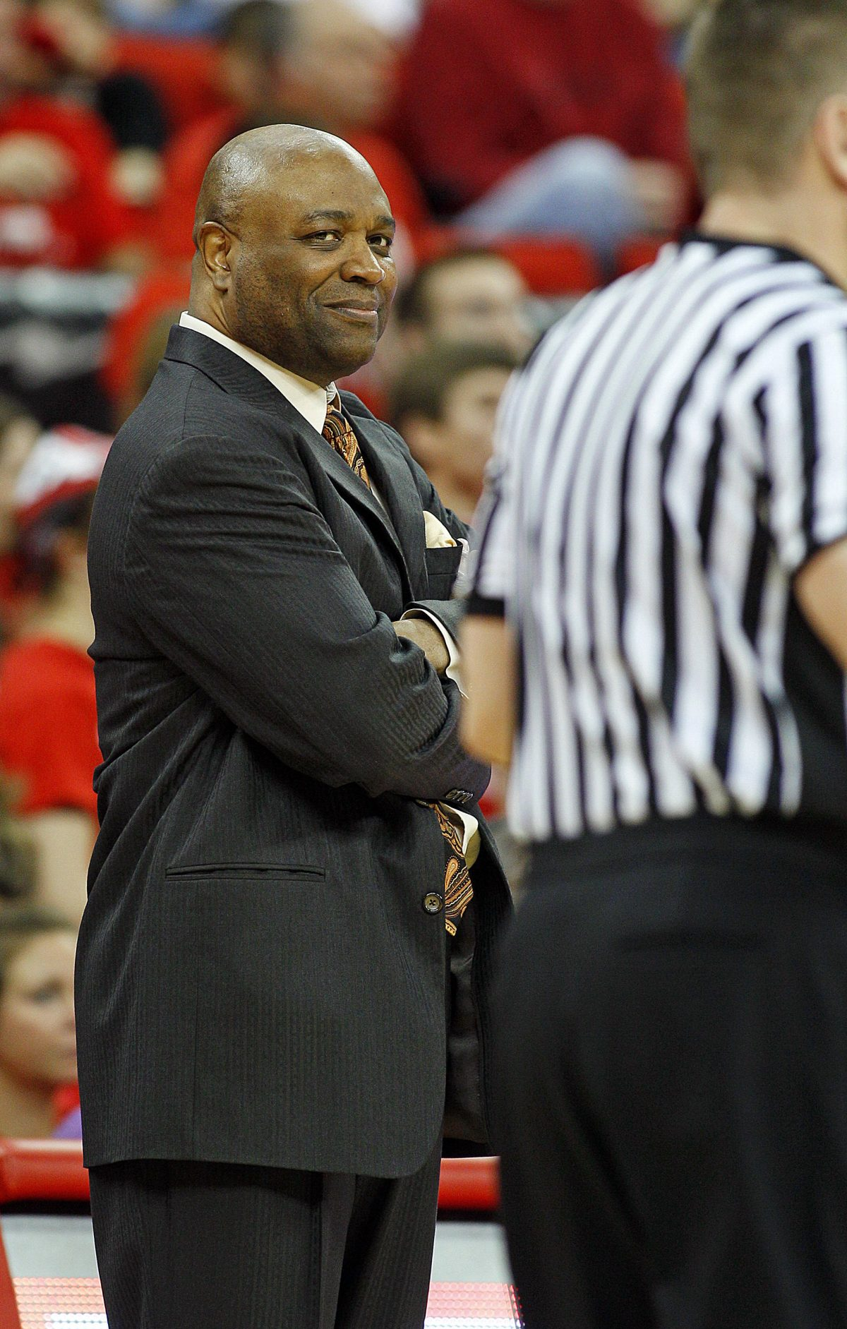 Florida State head coach Leonard Hamilton reacts to a call by the officials during the first half of an NCAA college basketball game against North Carolina State in Raleigh, N.C., Saturday, Feb. 18, 2012. Florida State won 76-62. (AP Photo/Karl B DeBlaker)