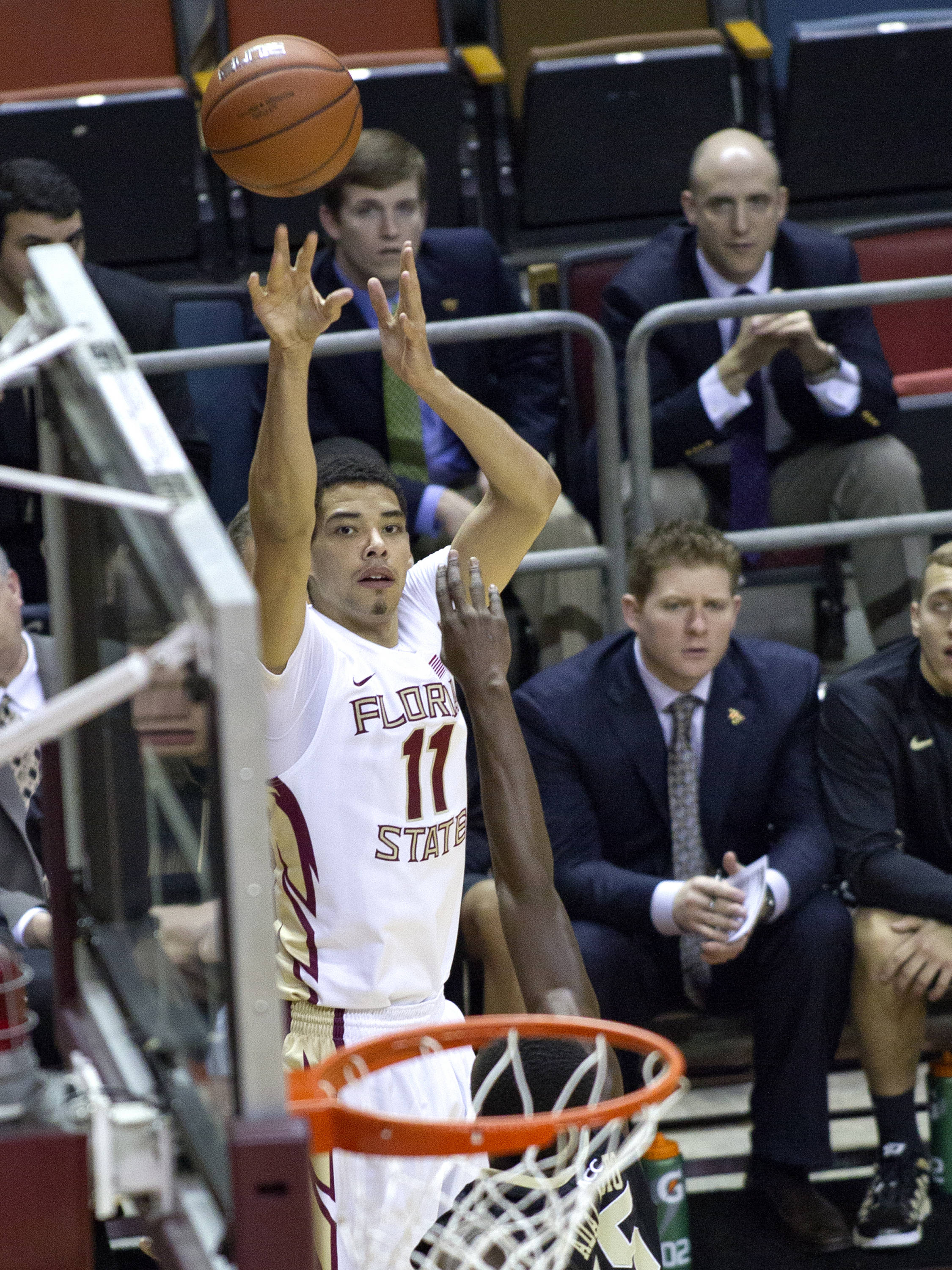 Kiel Turpin (11), FSU vs Wake Forest, 02/26/13. (Photo by Steve Musco)