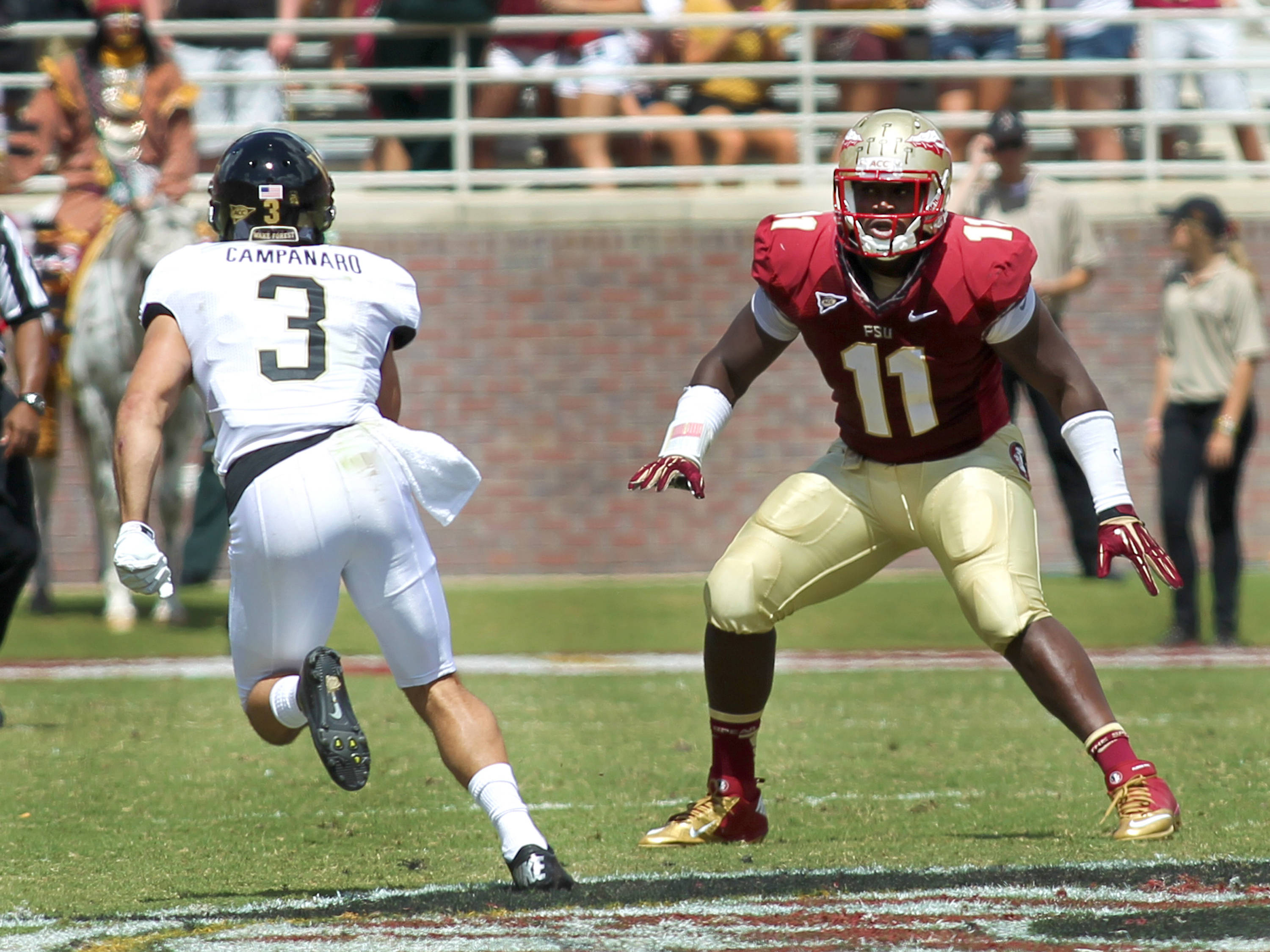 Vince Williams (11) in defensive coverage, FSU vs Wake Forest, 9/15/12 (Photo by Steve Musco)