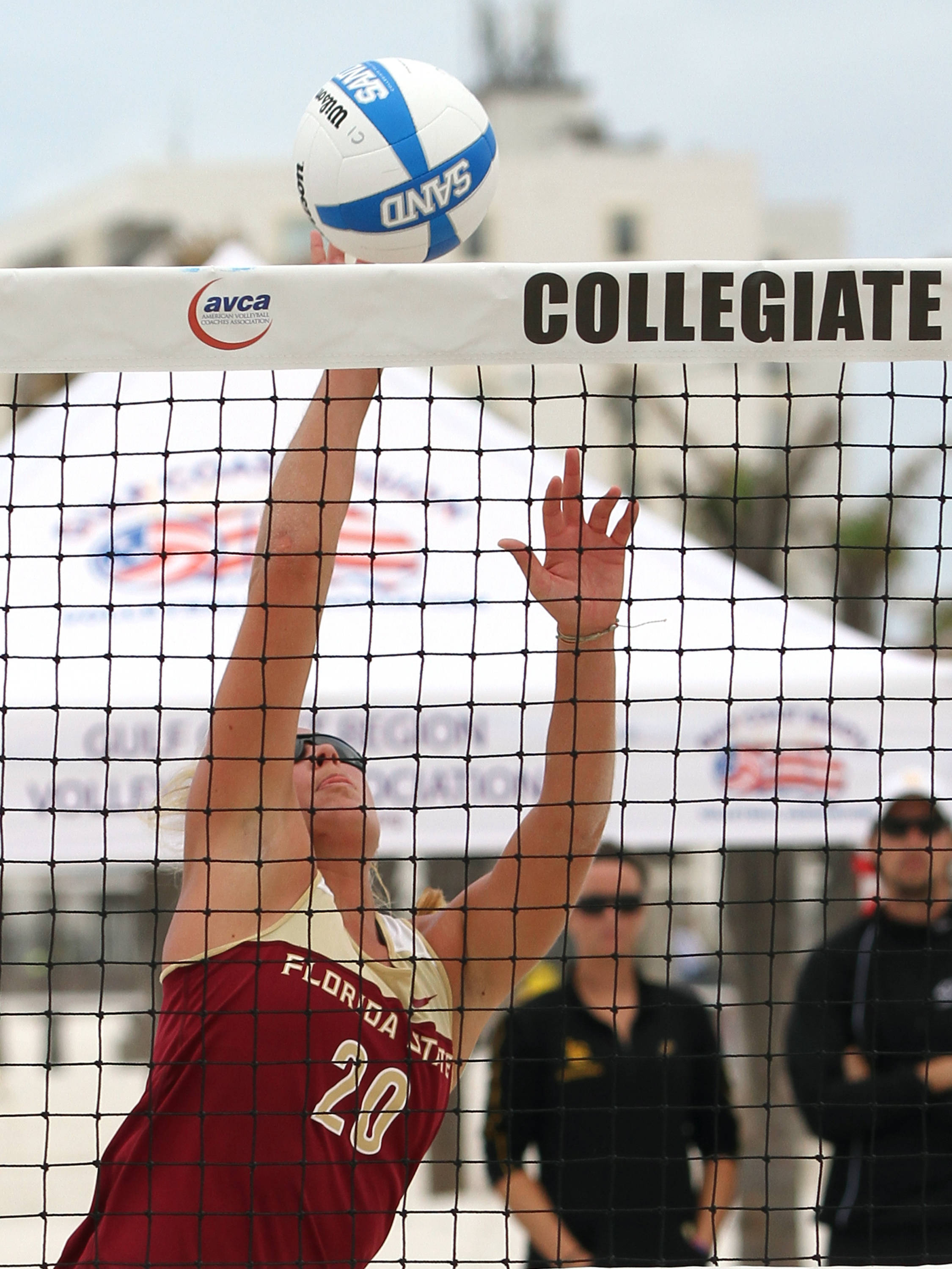 Srah Wickstrom (20), AVCA Collegiate Sand Volleyball National Championships,  Gulf Shores, Alabama,05/03/13 . (Photo by Steve Musco)
