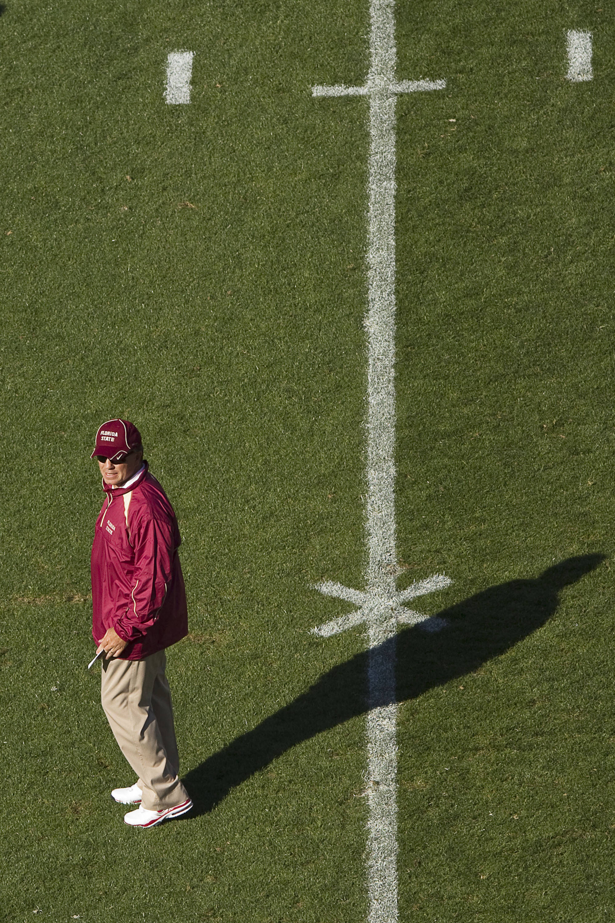 Jimbo Fisher watches his team.