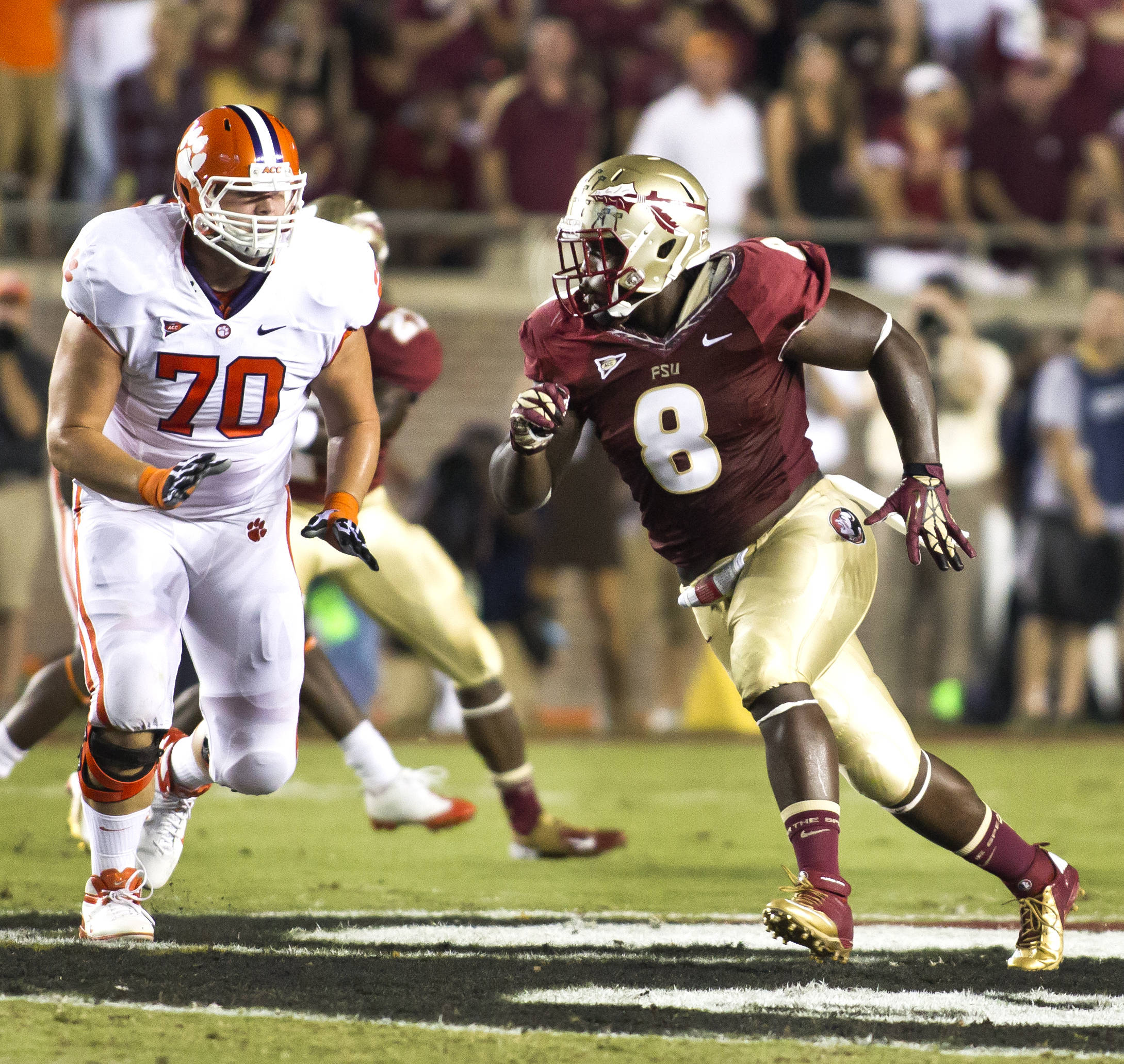 Timmy Jernigan (8) on a rush, FSU vs Clemson, 9/22/12 (Photo by Steve Musco)
