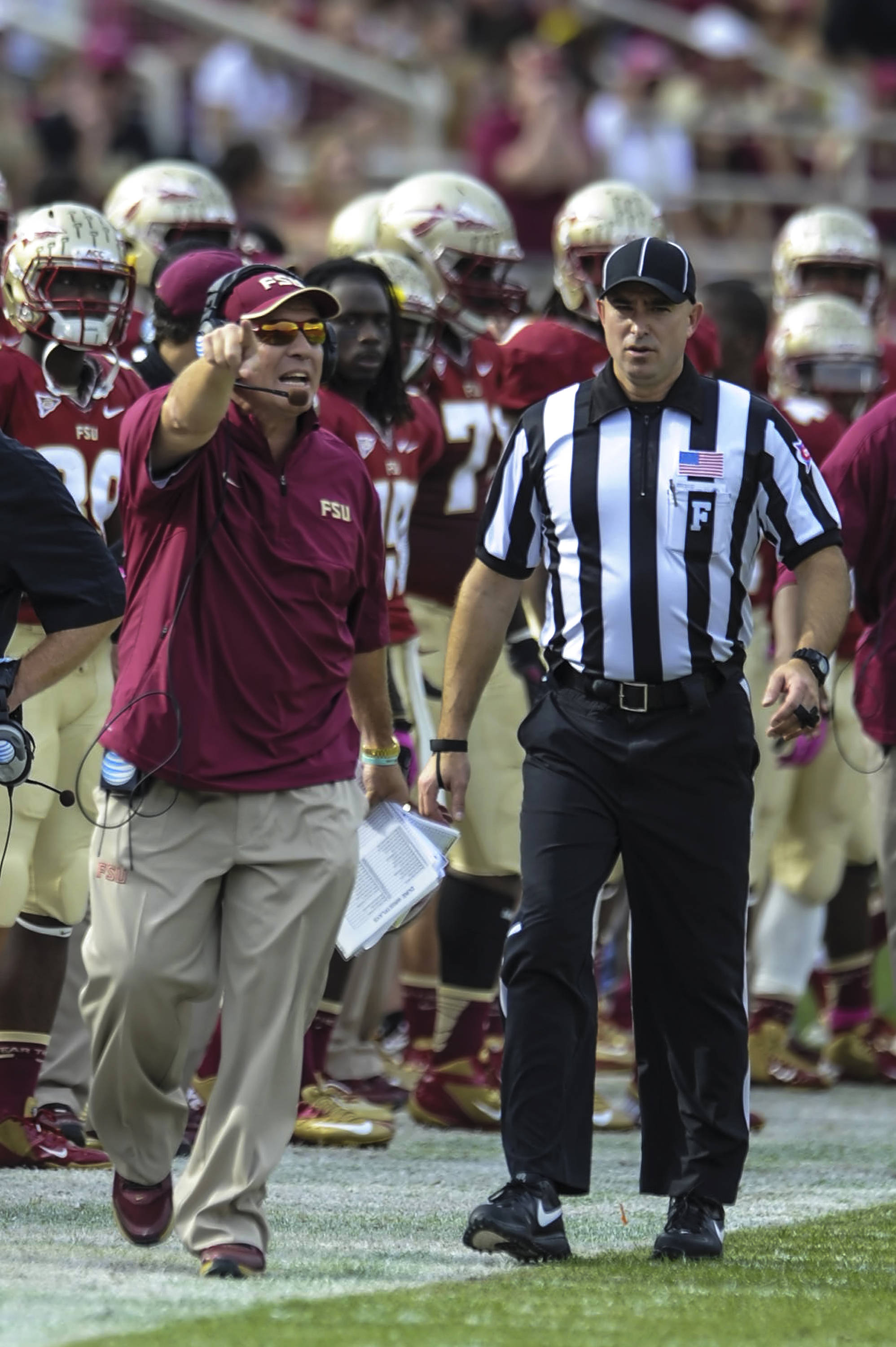 Jimbo Fisher disputes a call