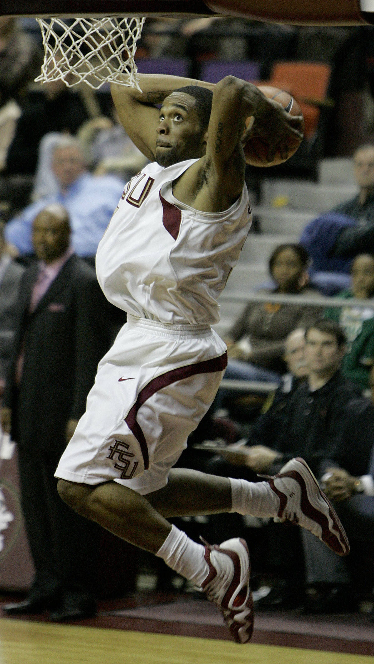Florida State's Isaiah Swann dunks during the second half of a college basketball game against Virginia Tech, Wednesday, Jan. 17, 2007, in Tallahassee, Fla. Florida State won 82-73.(AP Photo/Phil Coale)