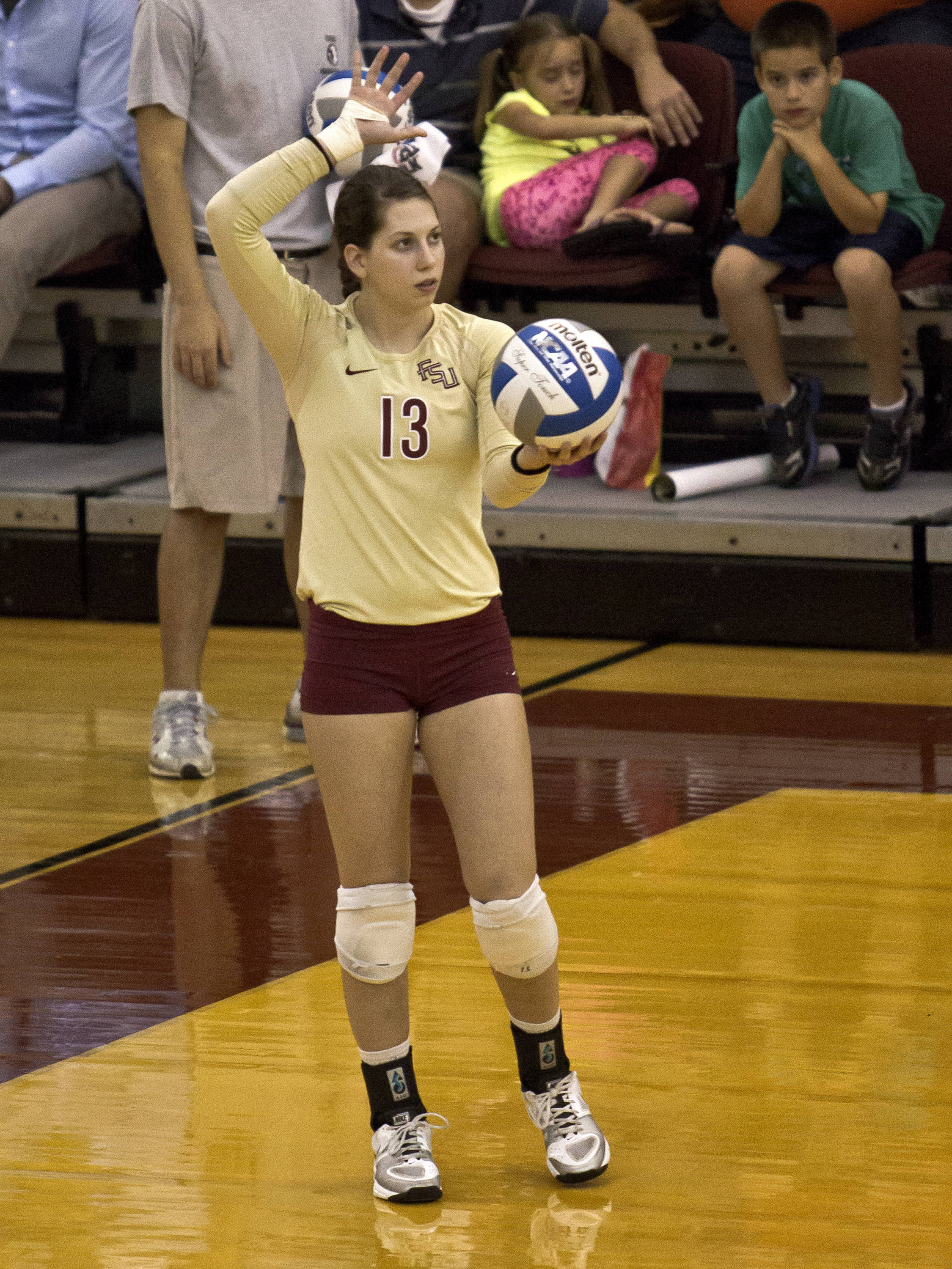 Laura Dadowski (13) ready to serve, FSU vs NC, 10/05/12 (Photo by Steve Musco)