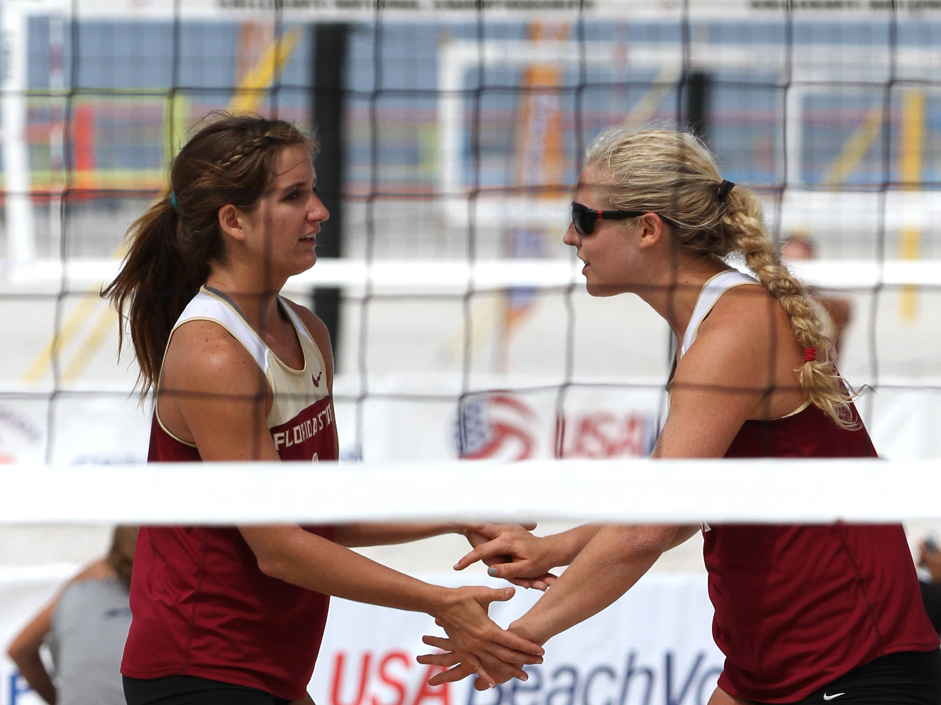 Aurora Davis (2), Katherine Plessy (32), AVCA Collegiate Sand Volleyball National Championships,  Gulf Shores, Alabama,05/03/13 . (Photo by Steve Musco)