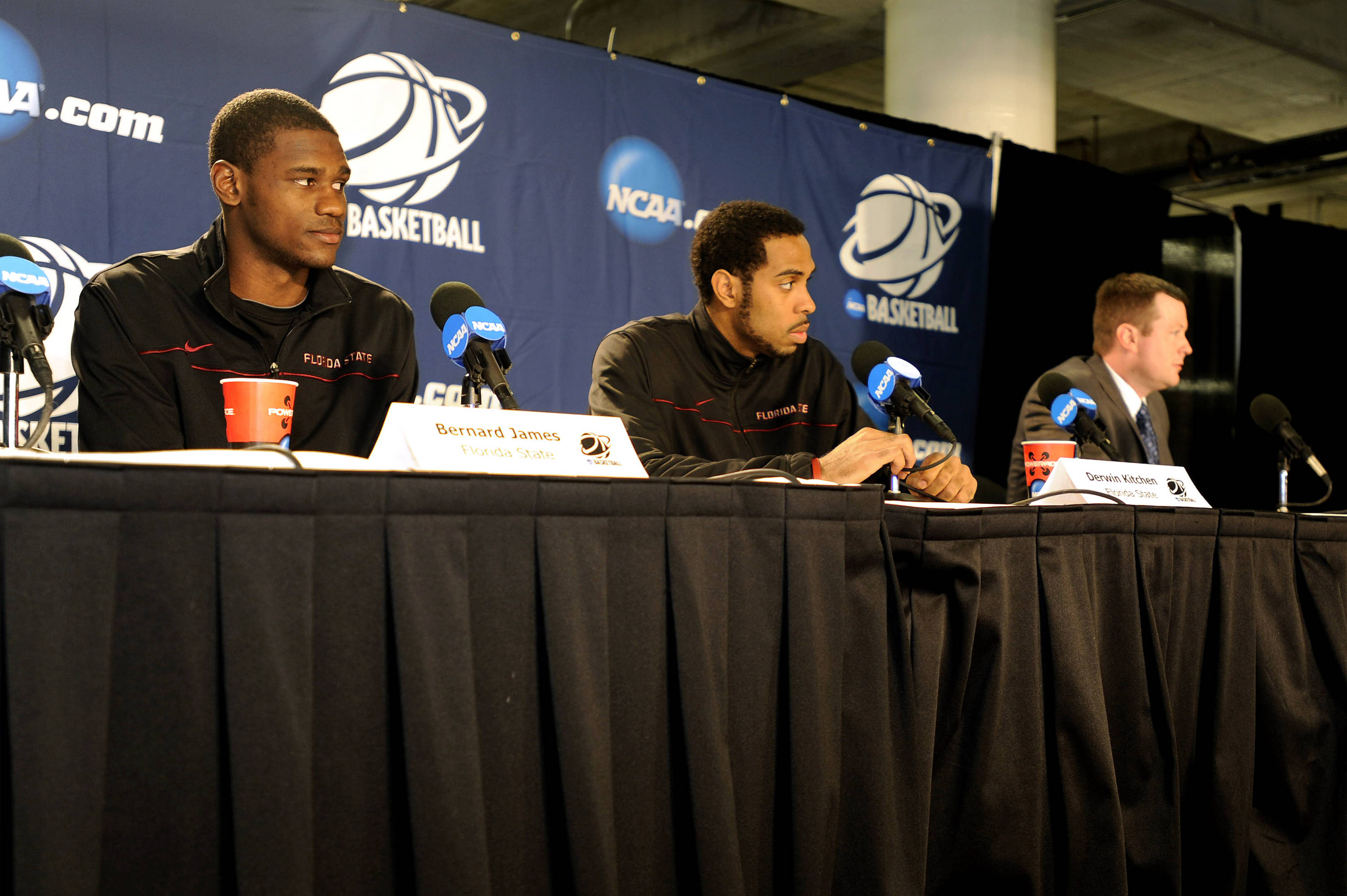 Bernard James and Derwin Kitchen answer questions at the press conference