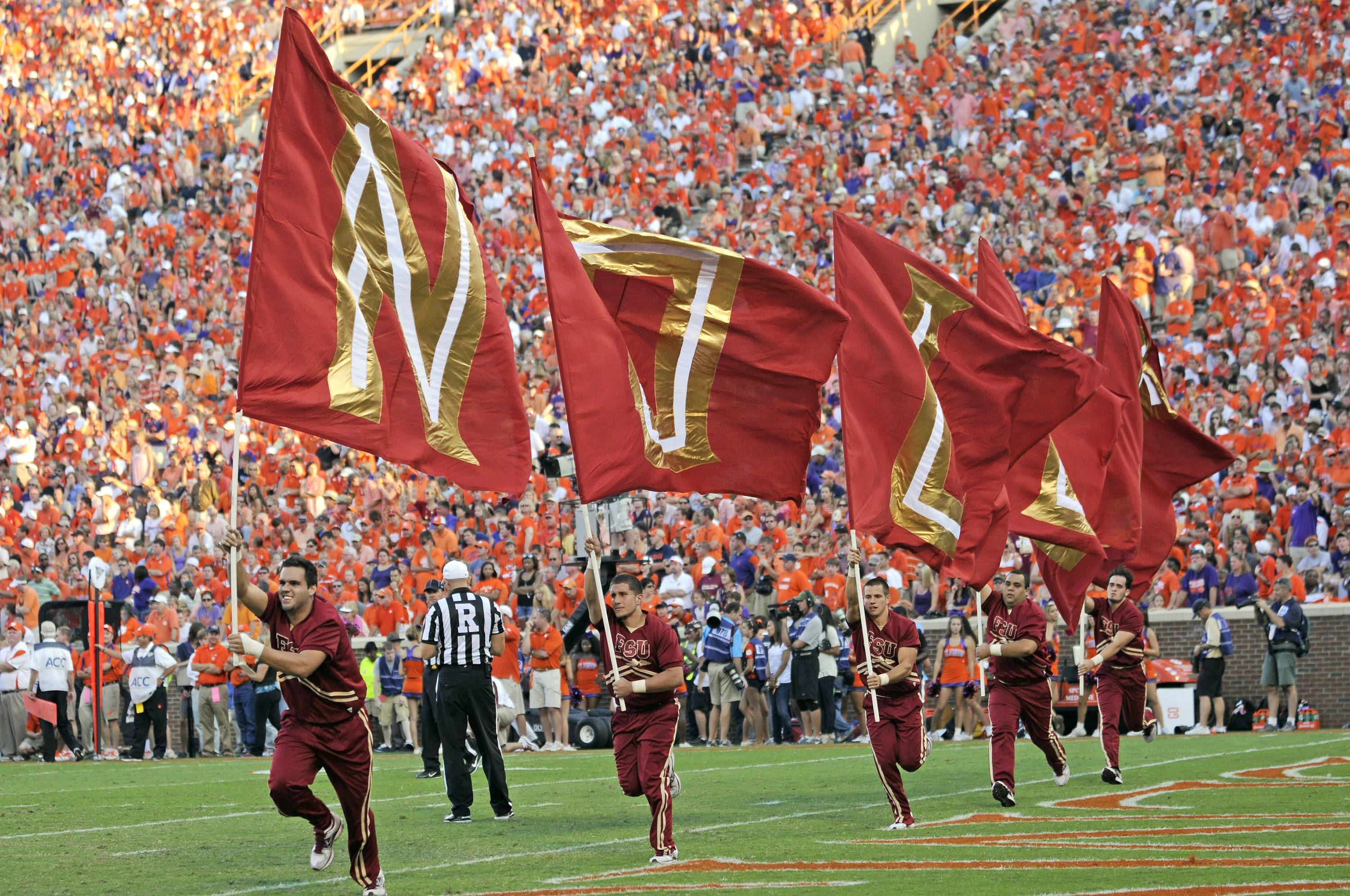 Florida State cheerleaders celebrate after a touchdown