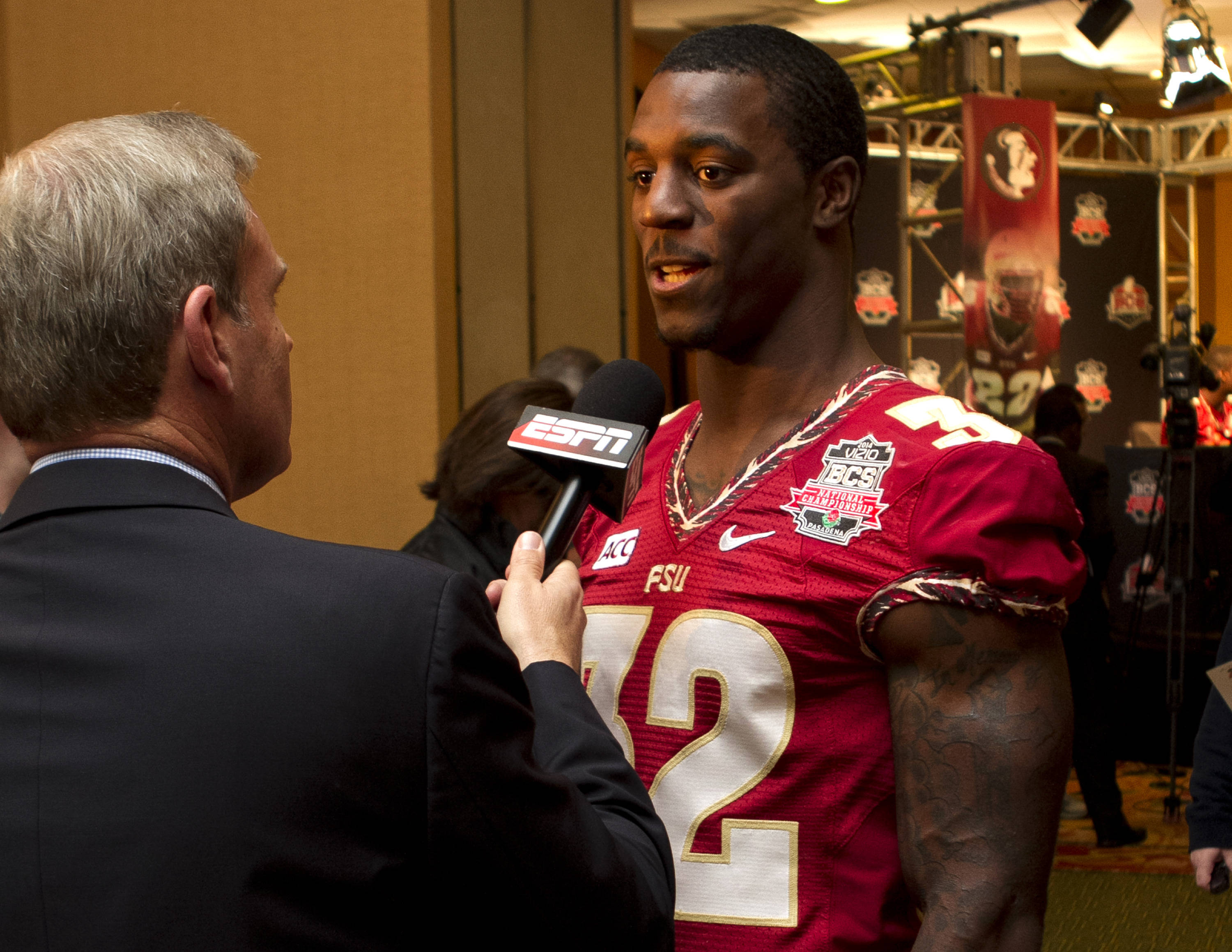 James Wilder, Jr. (32), FSU at BCS Championship MNedia Day,  1-04-14,  (Photo by Steve Musco)