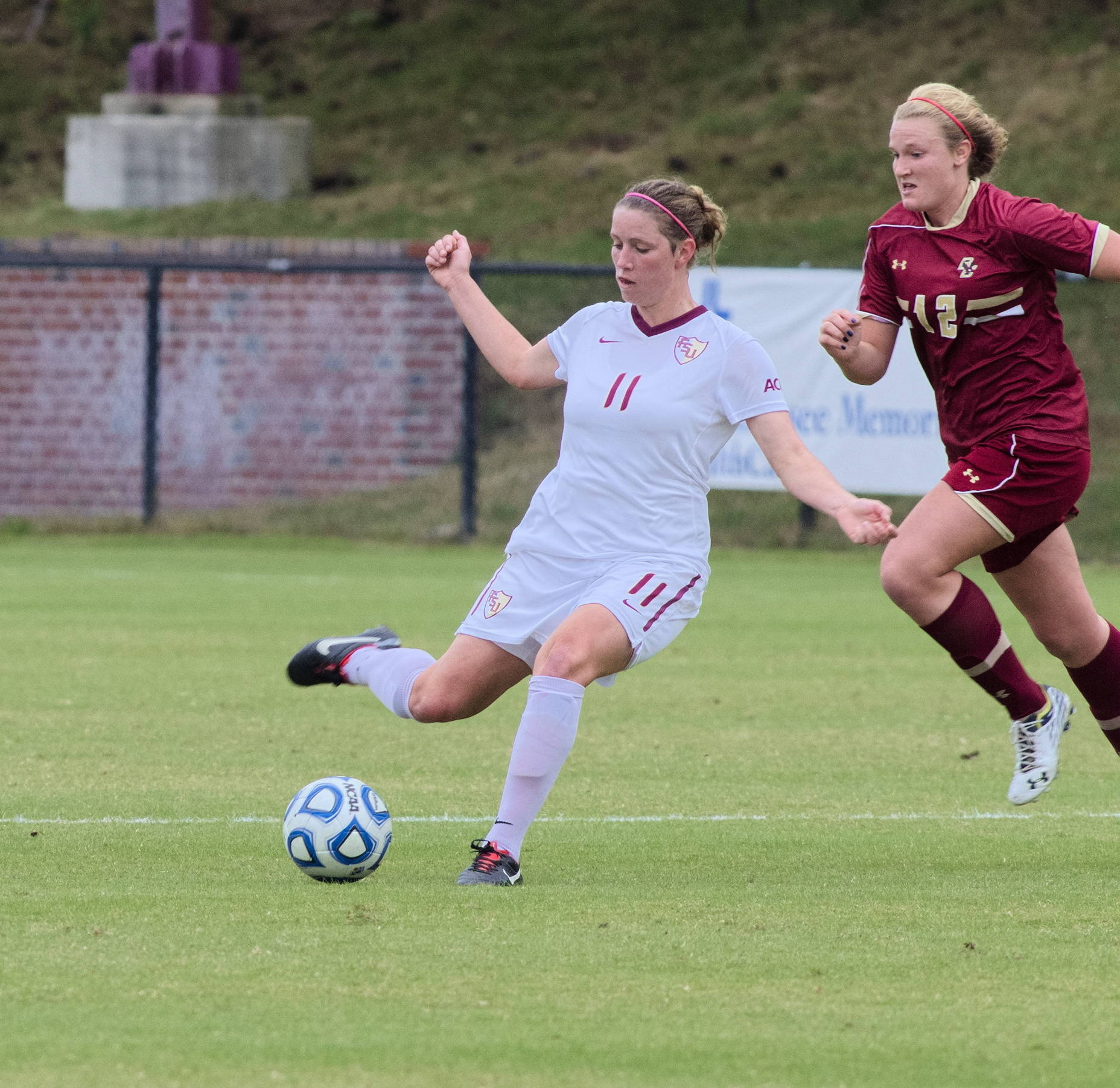 Isabella Schmid (11), FSU vs BC, ACC Tournament, 10/28/12. (Photo by Steve Musco)