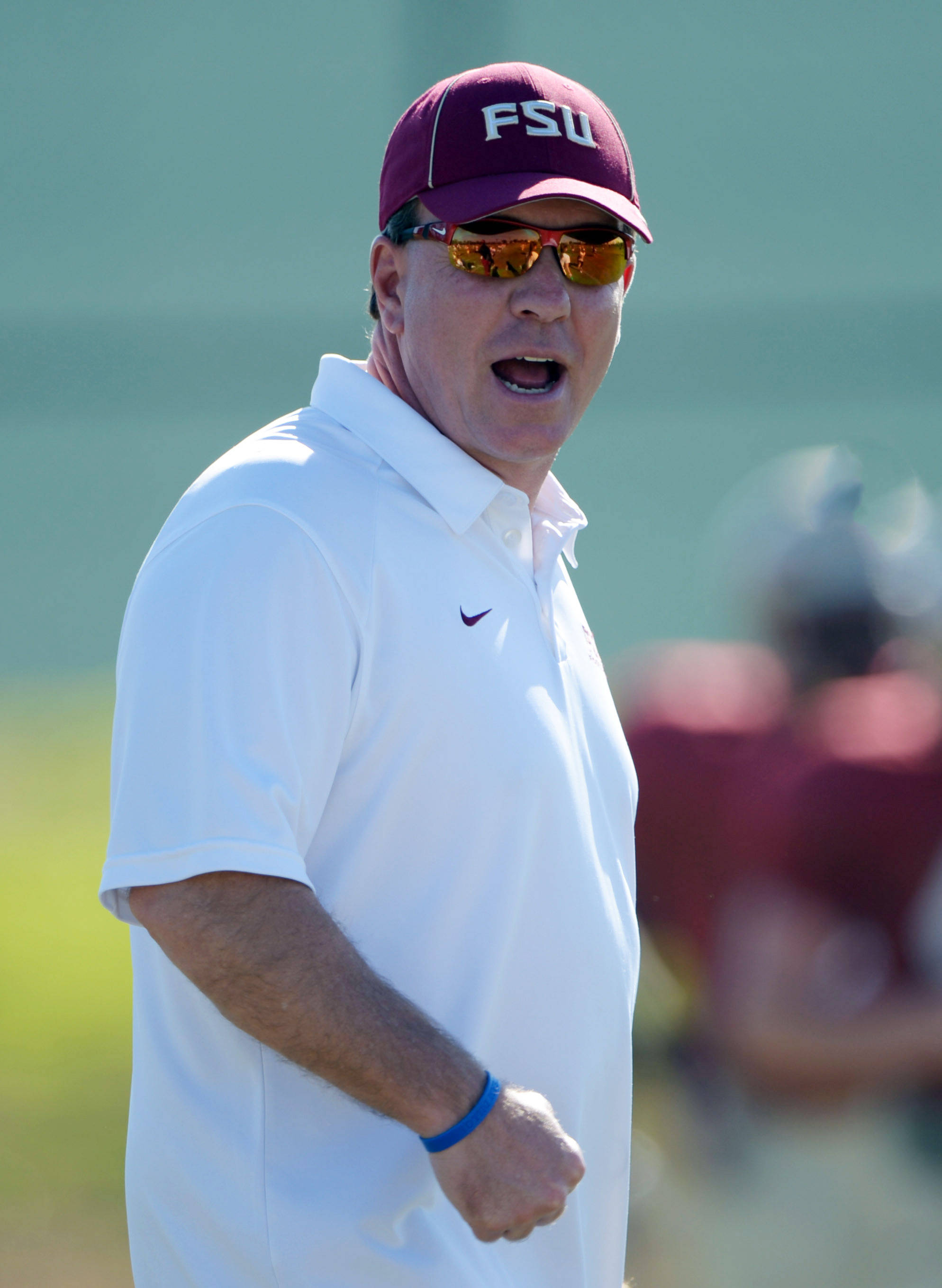 Florida State Seminoles coach Jimbo Fisher at practice for the 2014 BCS National Championship against the Auburn Tigers. Mandatory Credit: Kirby Lee-USA TODAY Sports