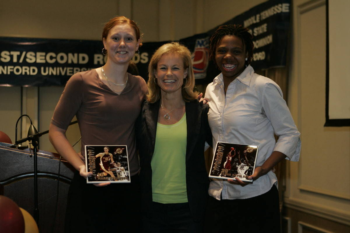 Most Improved Award recipients Mara Freshour and Tanae Davis-Cain with Coach Sue.