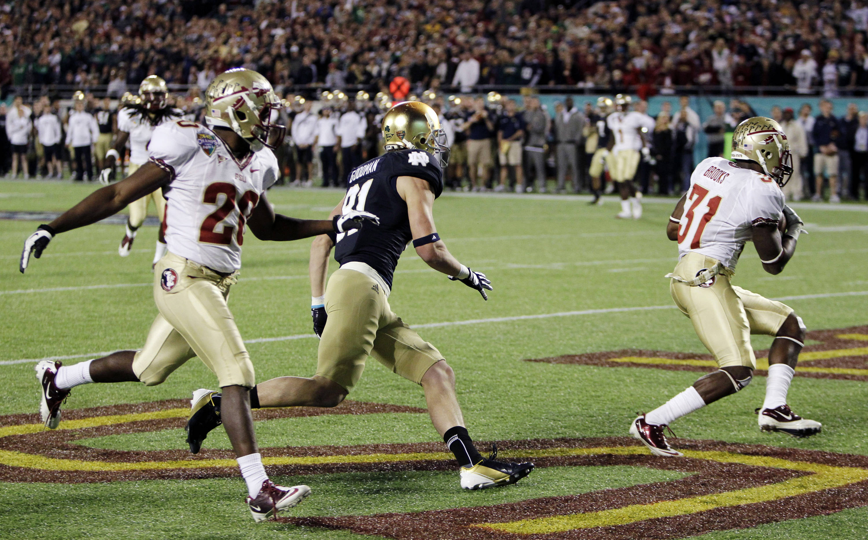 Florida State defensive back Terrence Brooks intercepts a pass intended for Notre Dame wide receiver John Goodman (81) during the second half. (AP Photo/John Raoux)