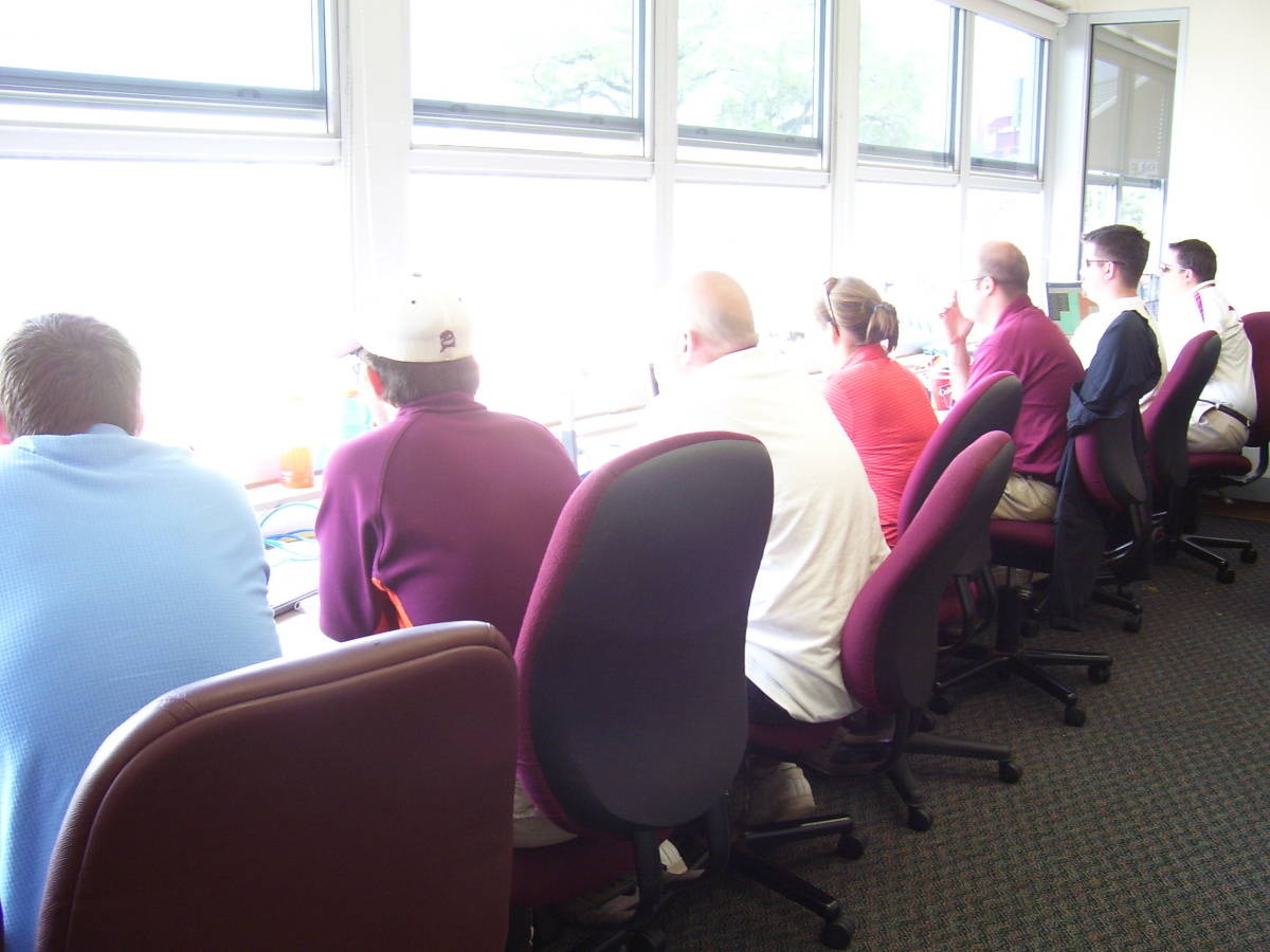 A look inside the press box.