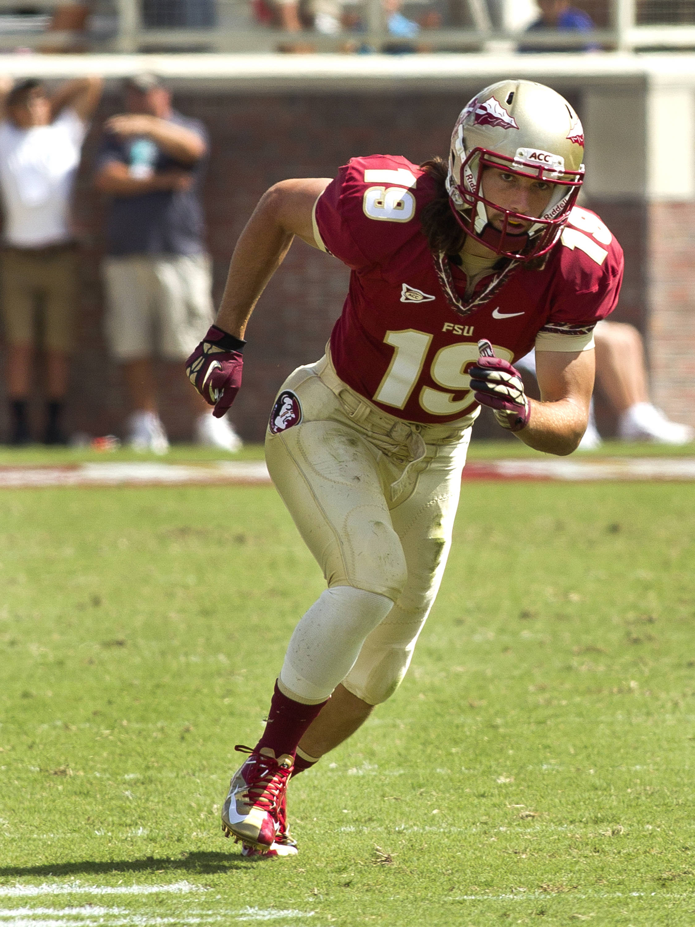 Josh Gehres (19) starting to run his route, FSU vs Wake Forest, 9/15/12 (Photo by Steve Musco)