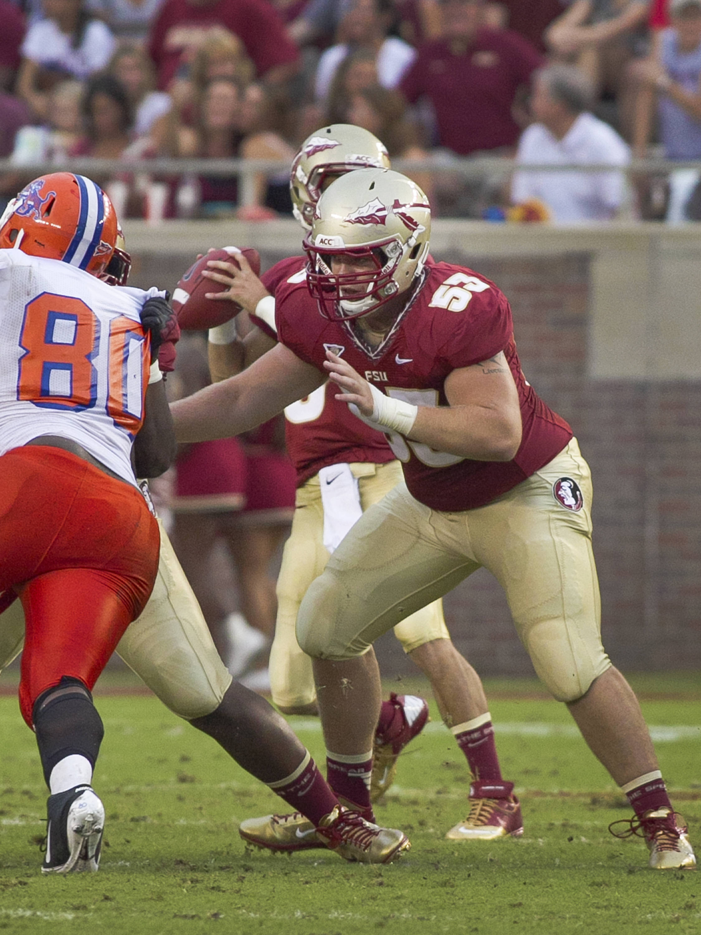 Sterling Lovelady (53),  FSU vs Savannah State, 9/8/12 (Photo by Steve Musco)