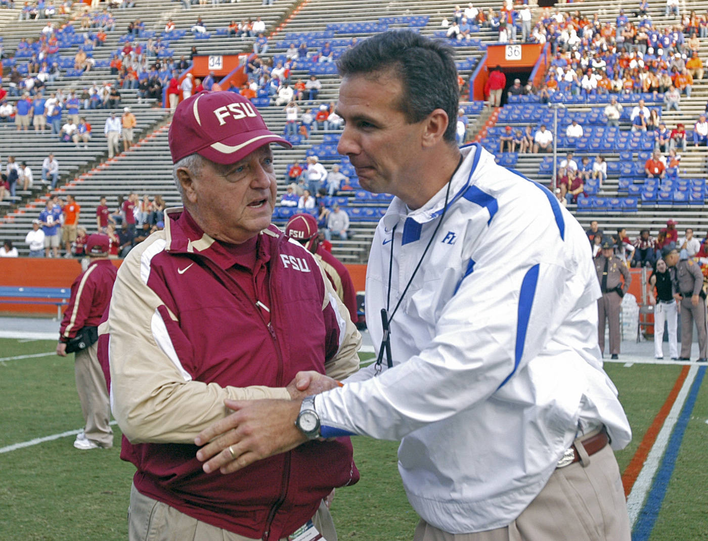 Florida State coach Bobby Bowden, left, and Florida coach Urban Meyer shake hands during warmups.