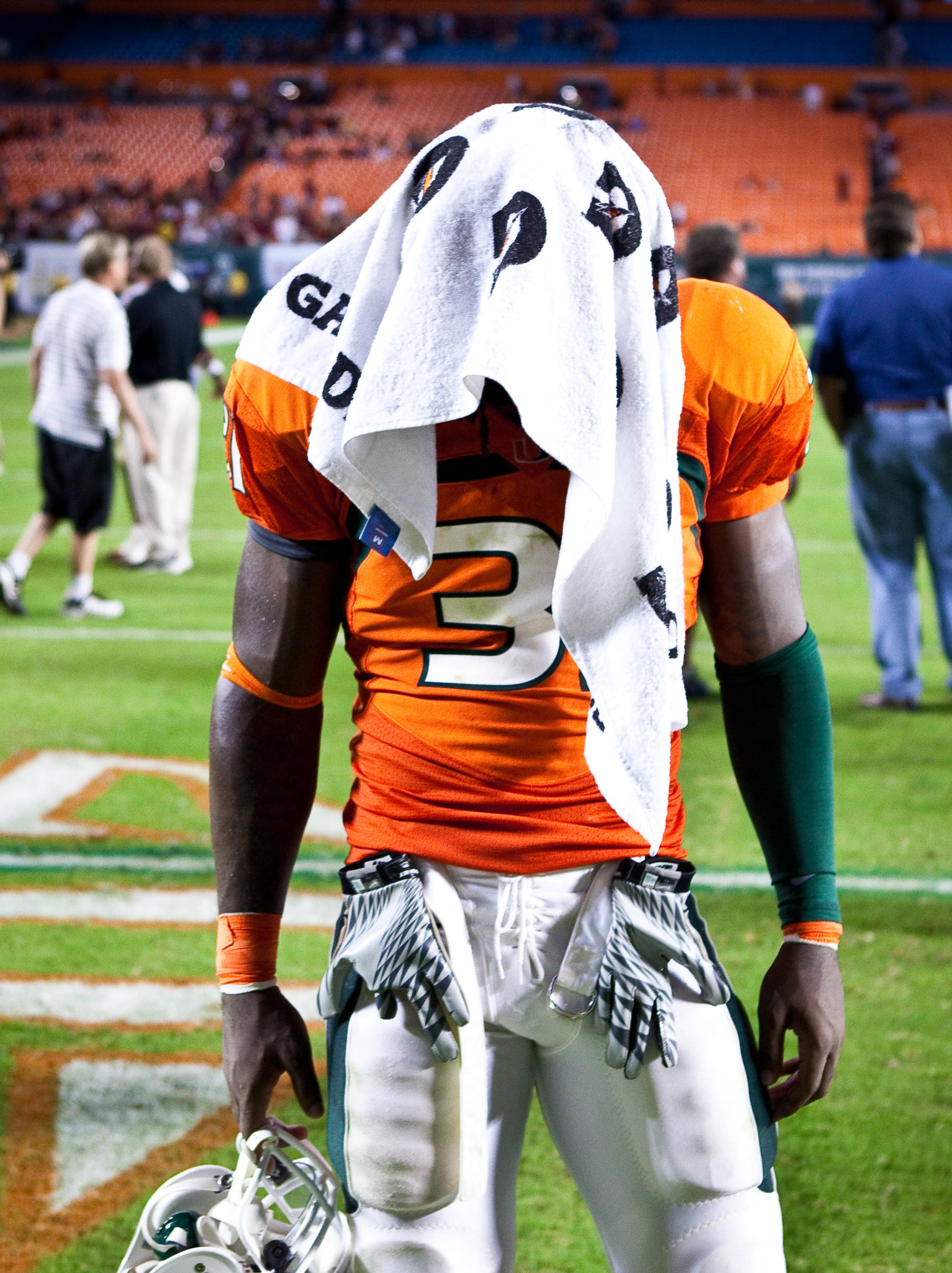 A Miami player is dejected after Florida State's win