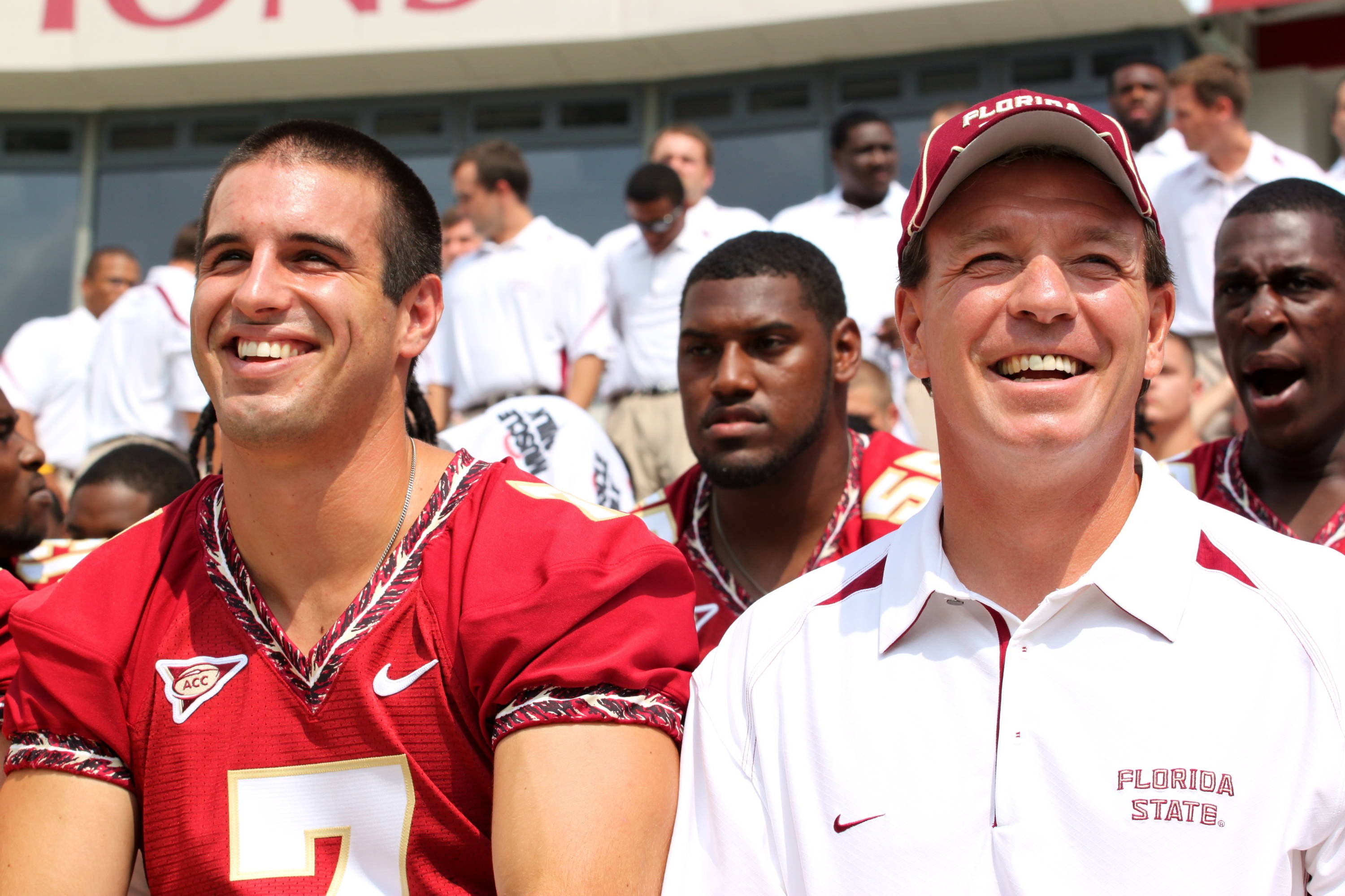 Christian Ponder and Jimbo Fisher.