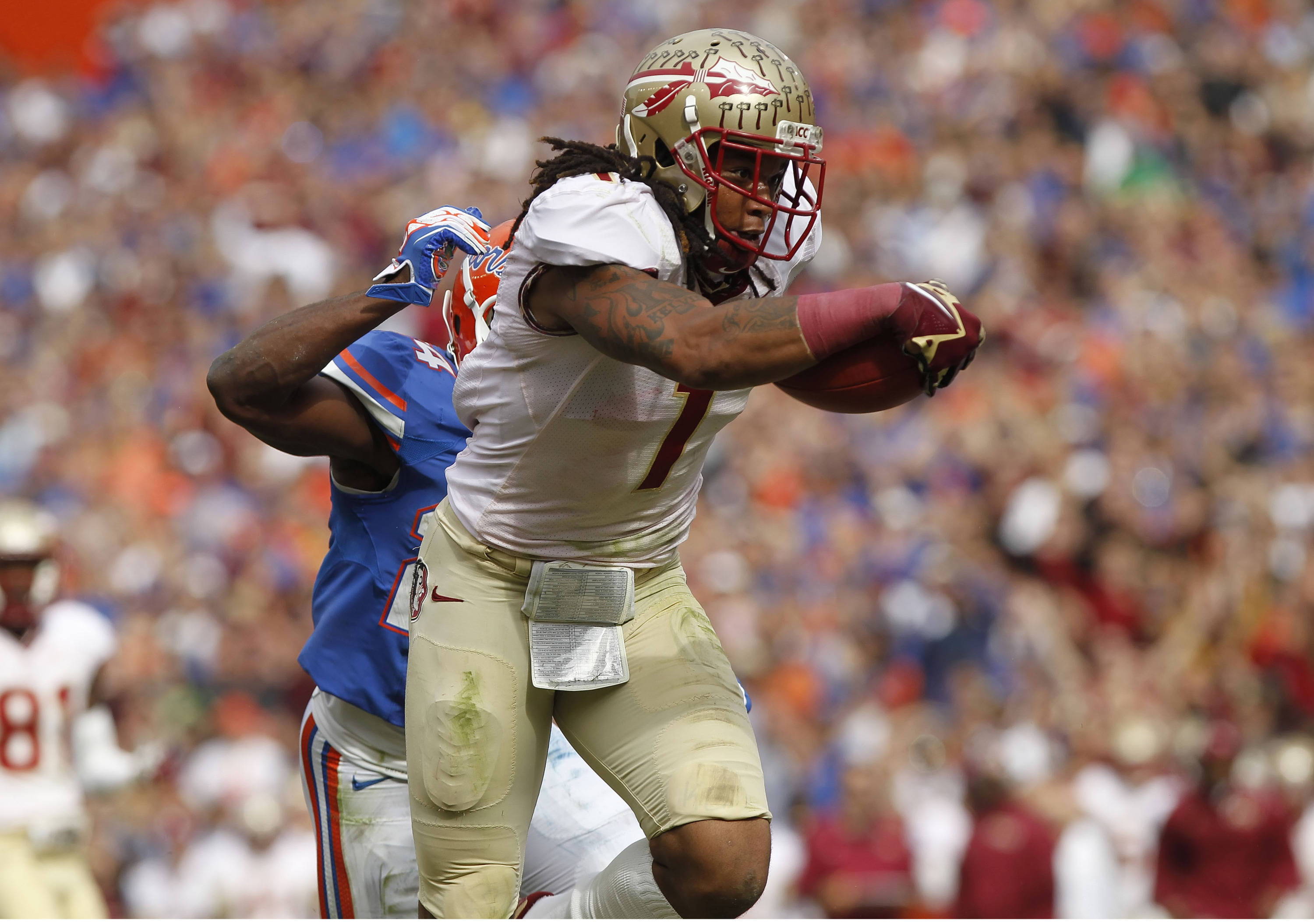 Kelvin Benjamin (1) runs the ball. Mandatory Credit: Kim Klement-USA TODAY Sports