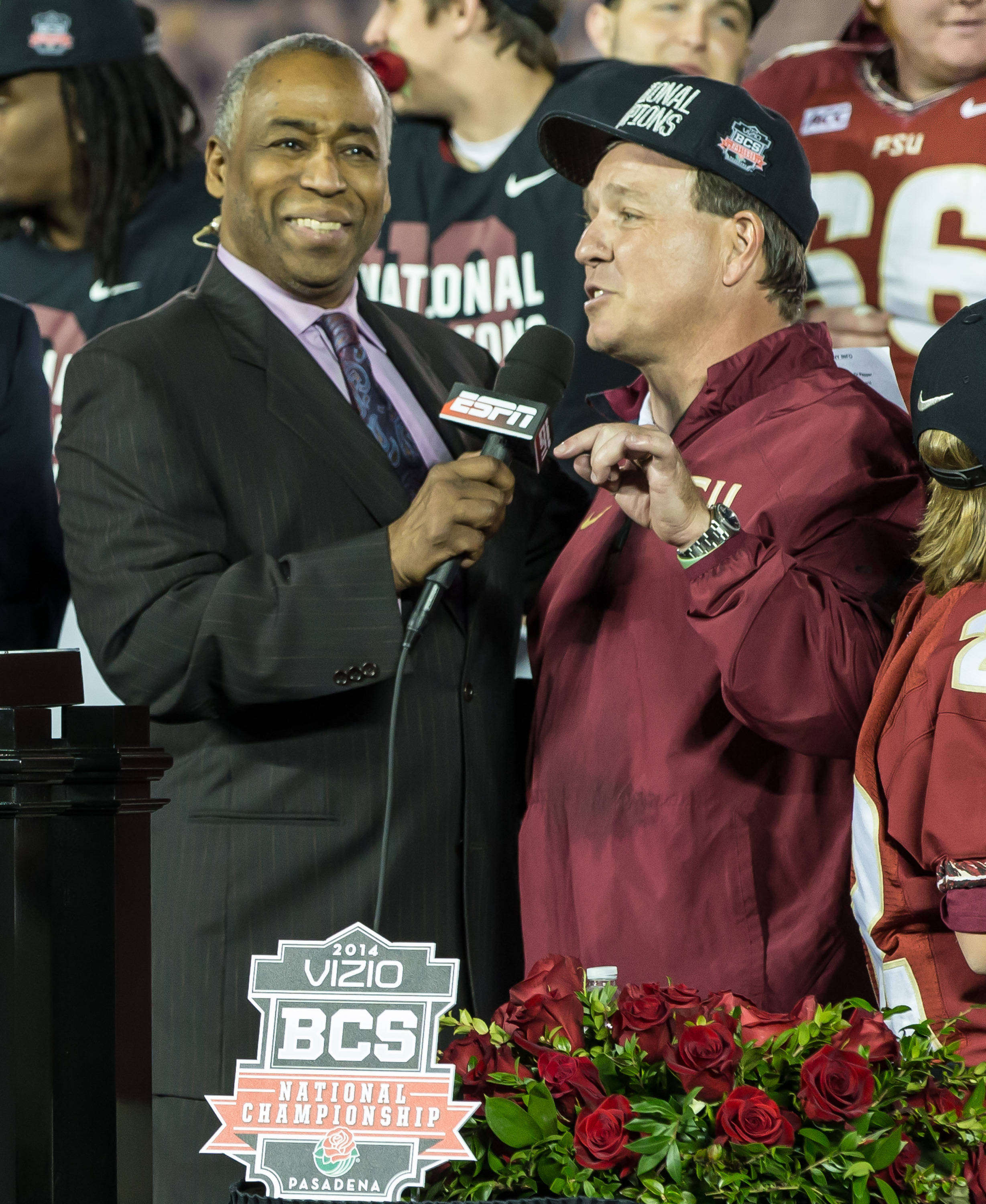 Jimbo Fisher is interviewed by ESPN's John Saunders.