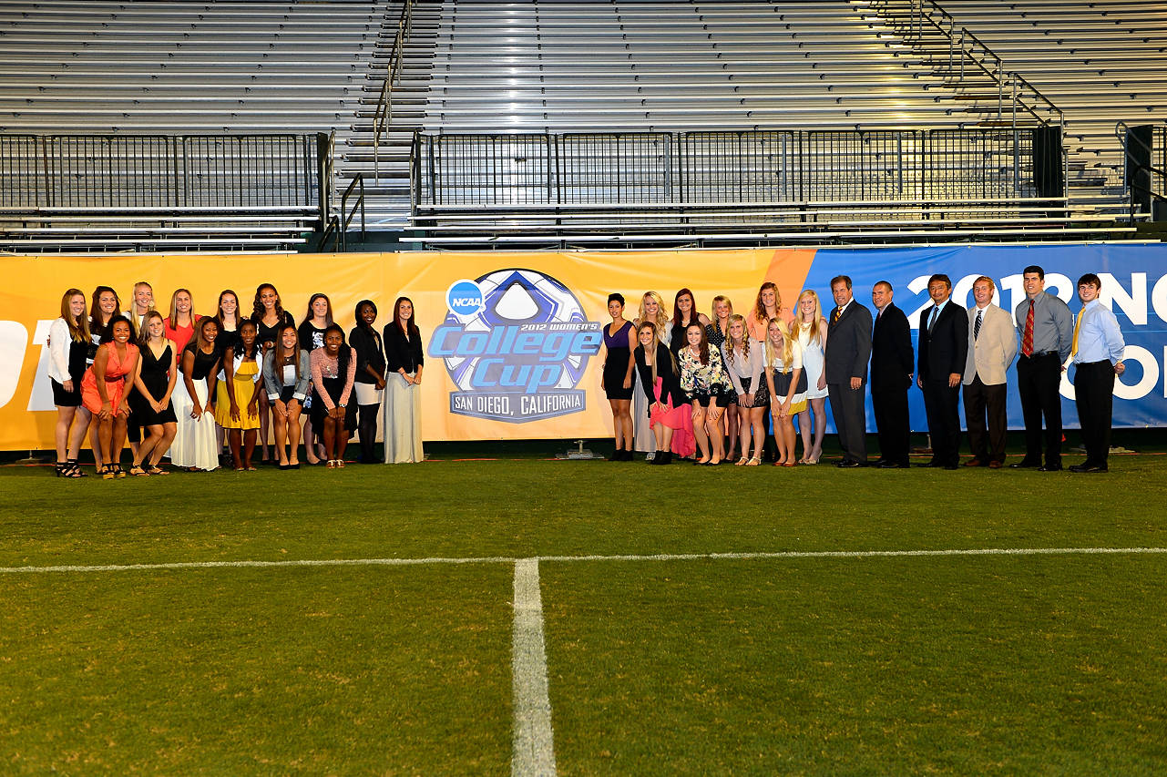 The 2012 Florida State Seminoles gather on the field at Torero Stadium before the championship banquet Thursday night.