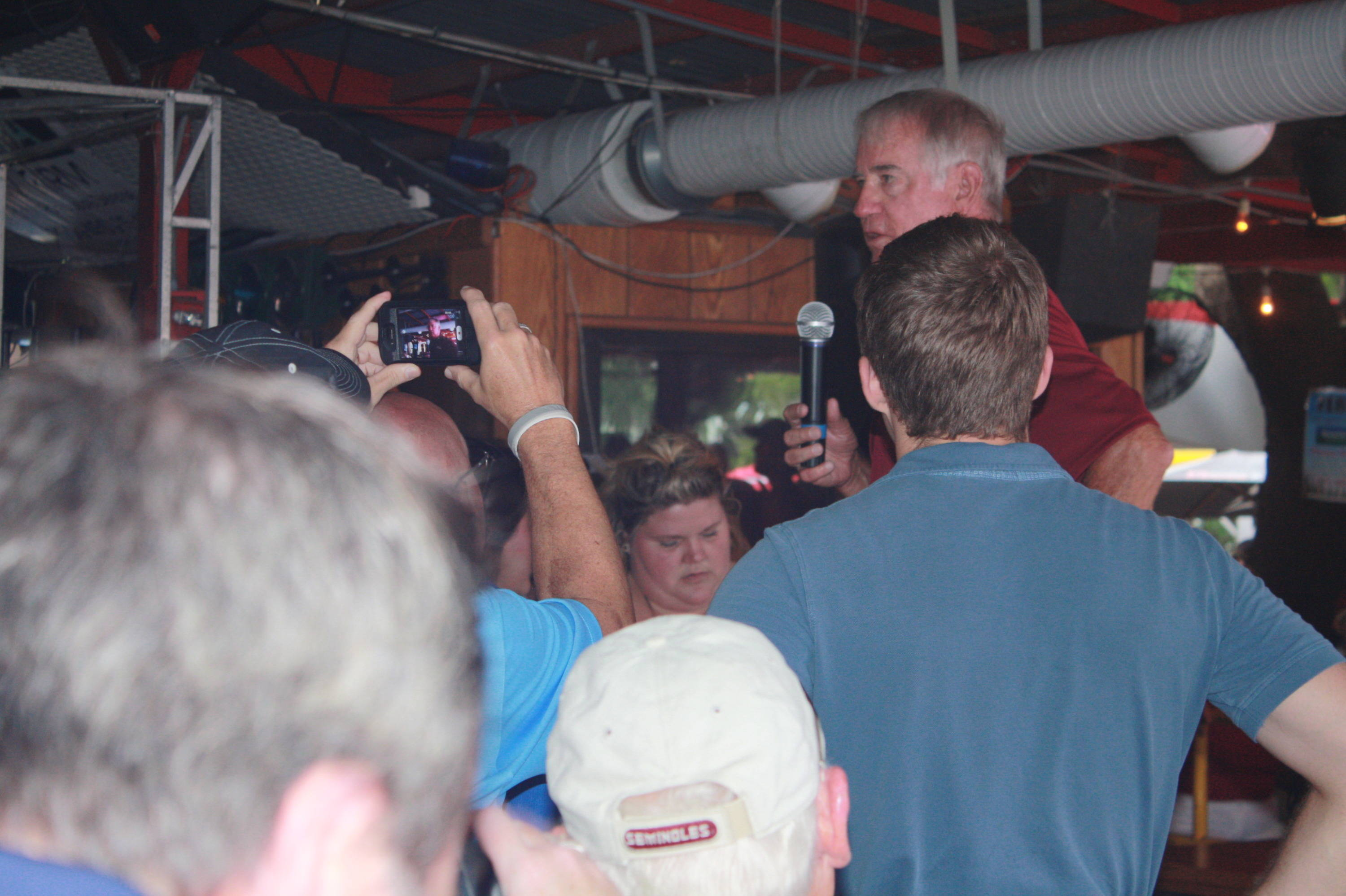 Head coach Mike Martin addresses the Seminole fans in attendance at Ferg's.