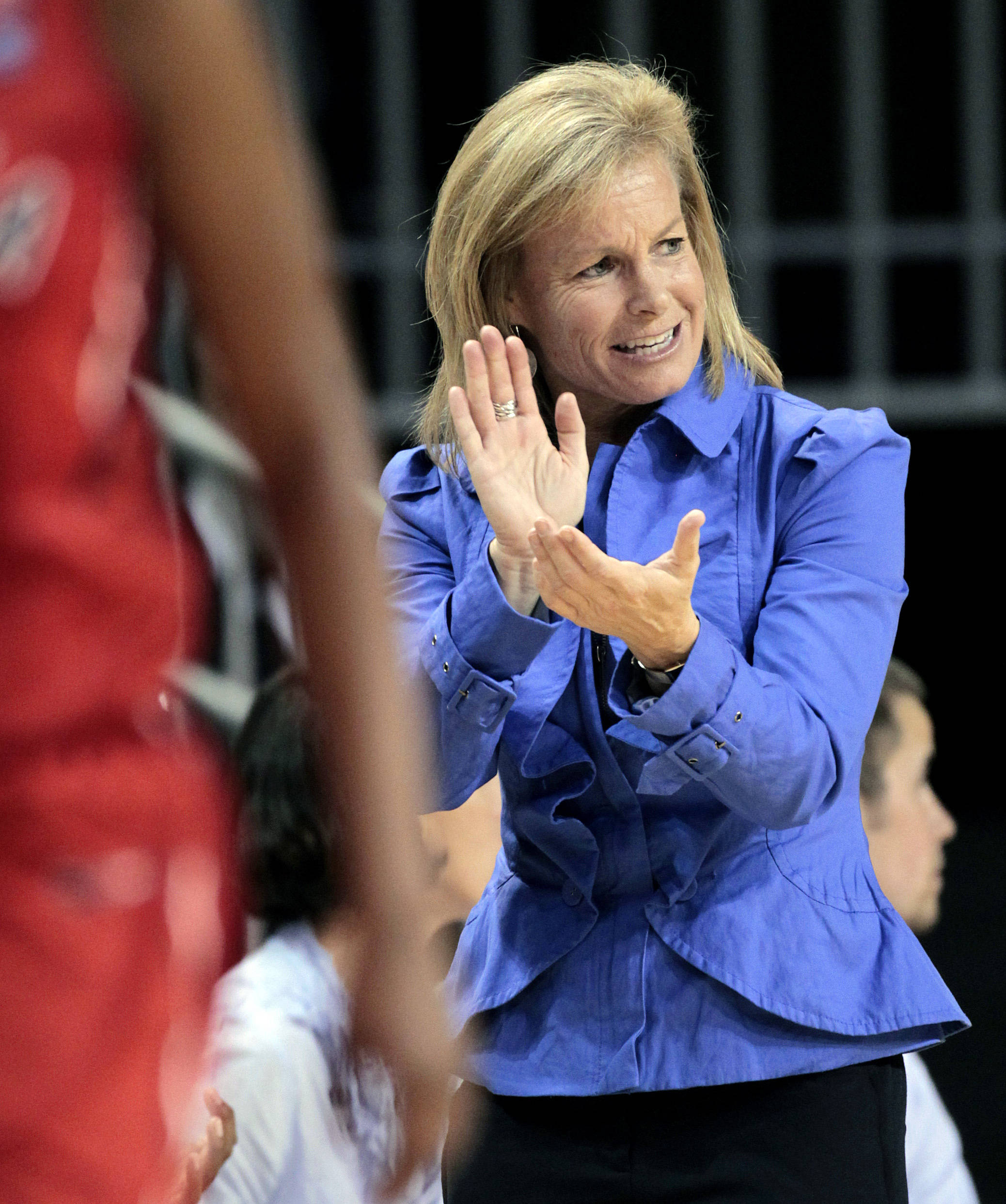 Florida State coach Sue Semrau cheers in the first half of a second-round NCAA women's college basketball tournament game against Georgia at Auburn Arena in Auburn, Ala., Tuesday, March 22, 2011. (AP Photo/Dave Martin)