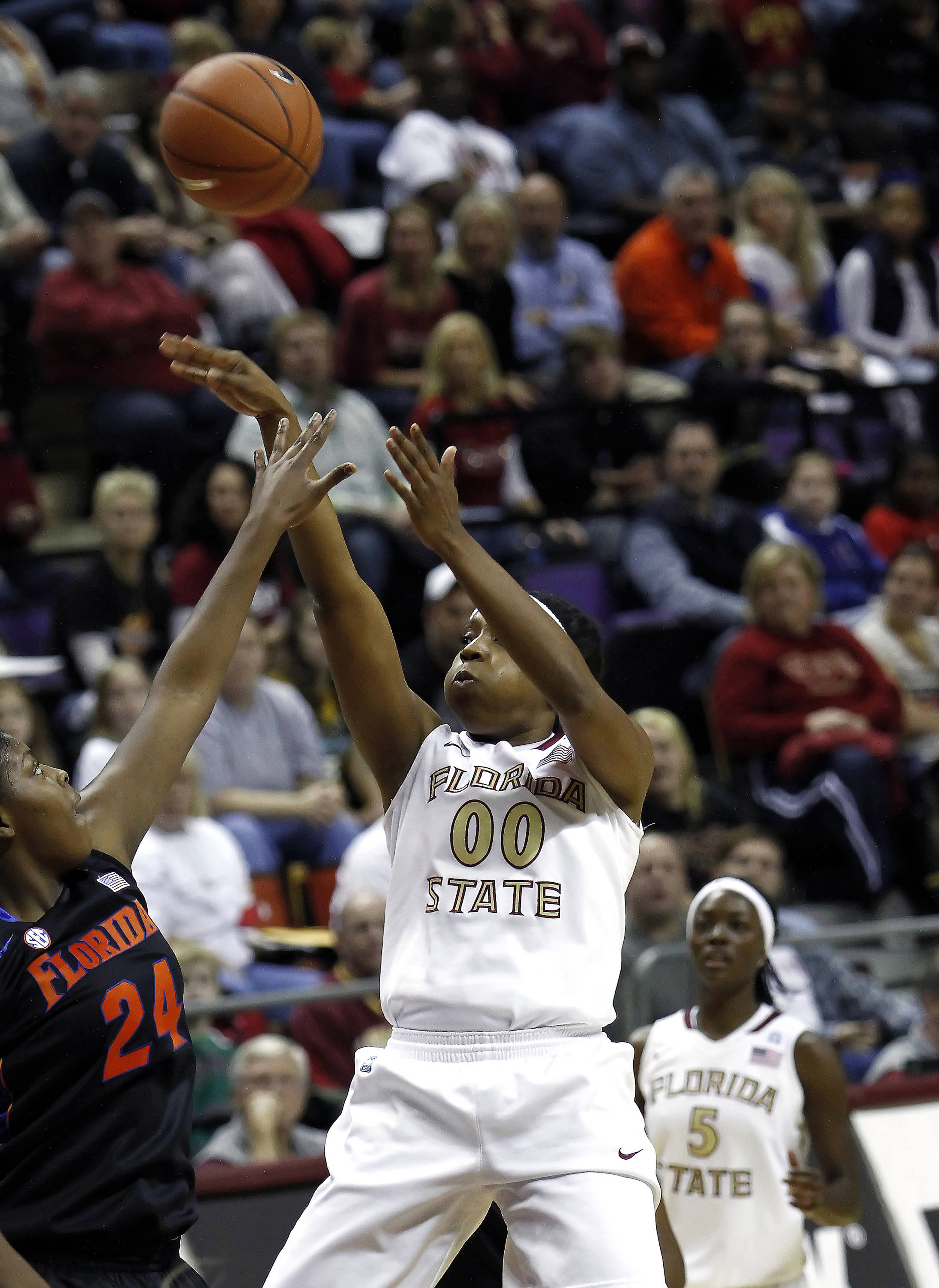 FSU vs Florida  12/28/10 - Chasity Clayton (00), Christian Hunnicutt (5)#$%^Photo by Steve Musco