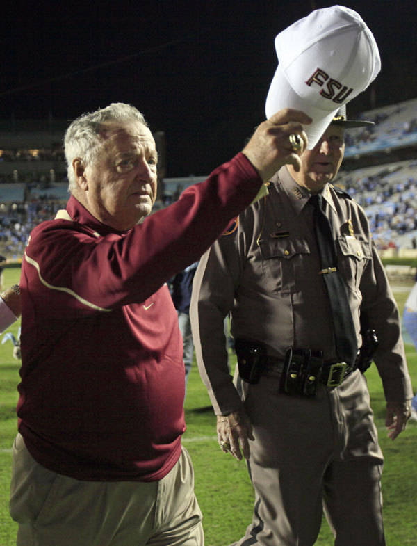 Florida State coach Bobby Bowden waves his hat.