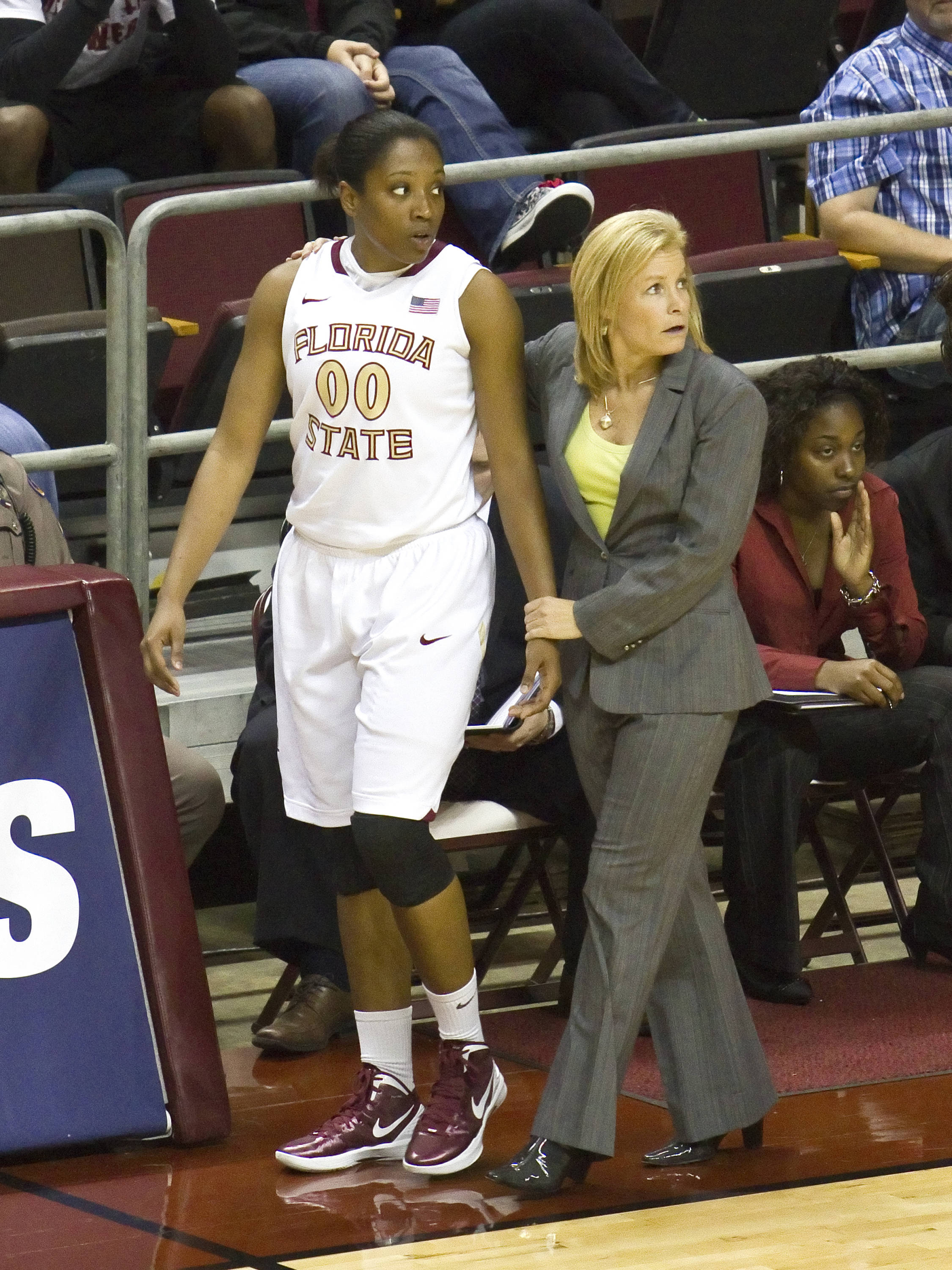 Chasity Clayton (00), Head Coach Sue Semrau, FSU vs Georgia St, 11/21/2011