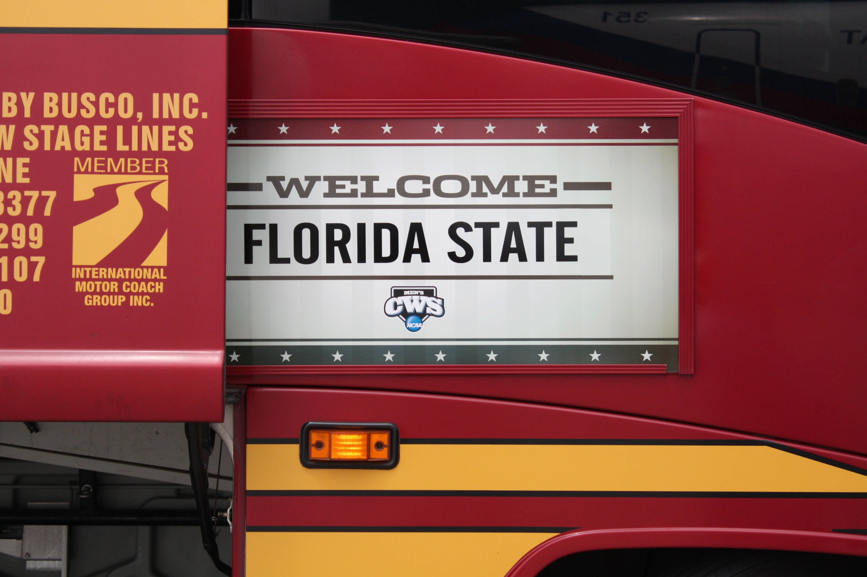 The team bus - all decked out in Garnet & Gold!