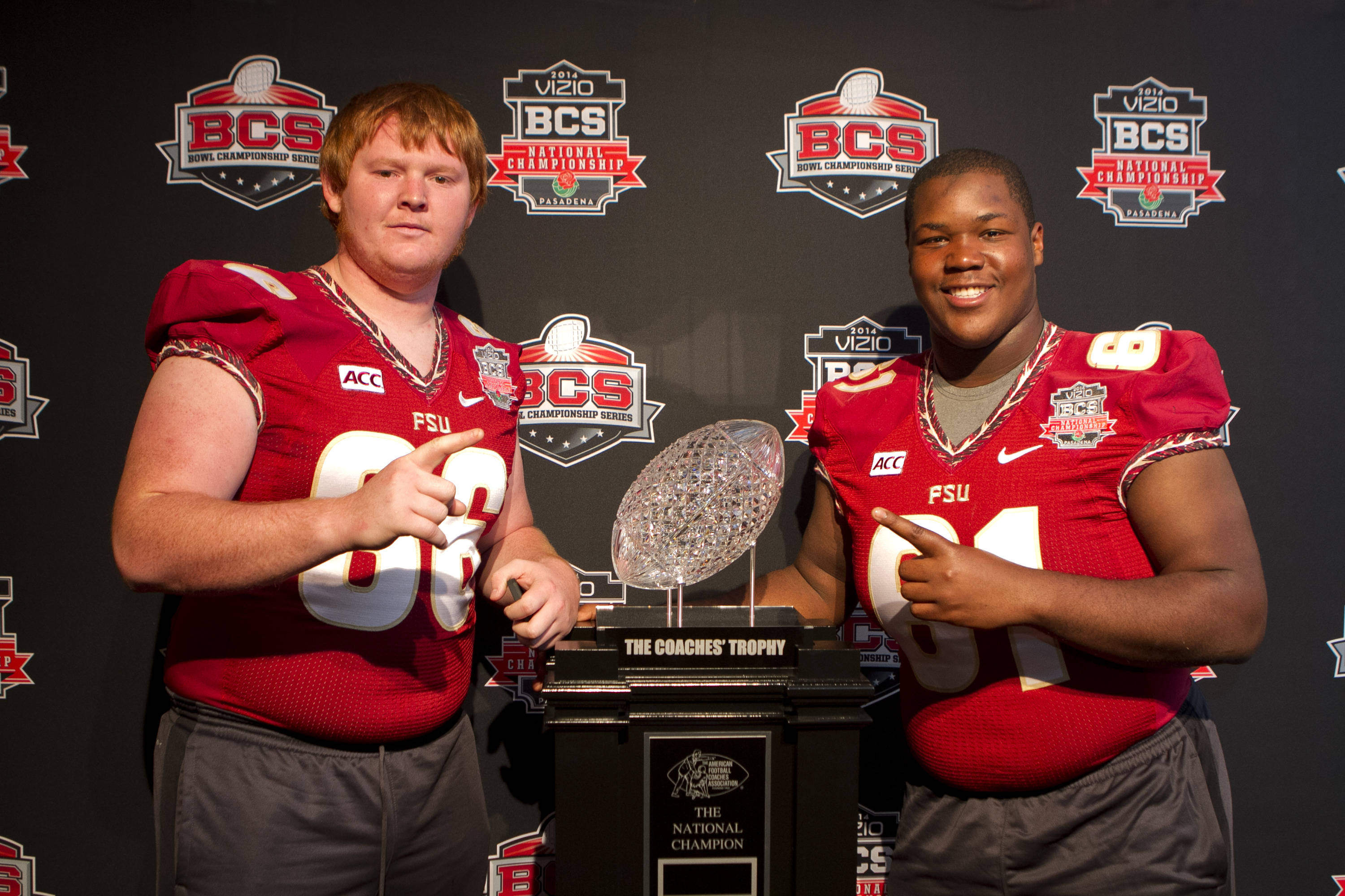 Keith Weeks (66) and Myles Davis (61), FSU at BCS Championship Media Day,  1-04-14,  (Photo by Steve Musco)