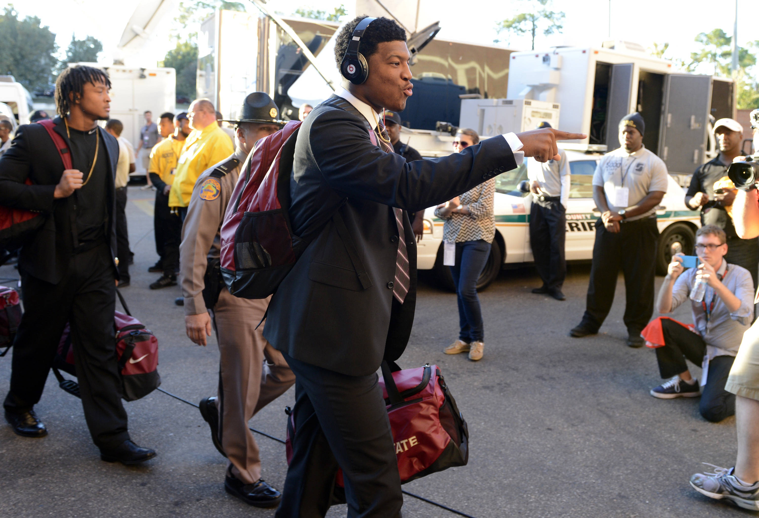 Florida State Seminoles quarterback Jameis Winston (5) arrives at Doak Campbell Stadium for their game against the Miami Hurricanes. Mandatory Credit: John David Mercer-USA TODAY Sports