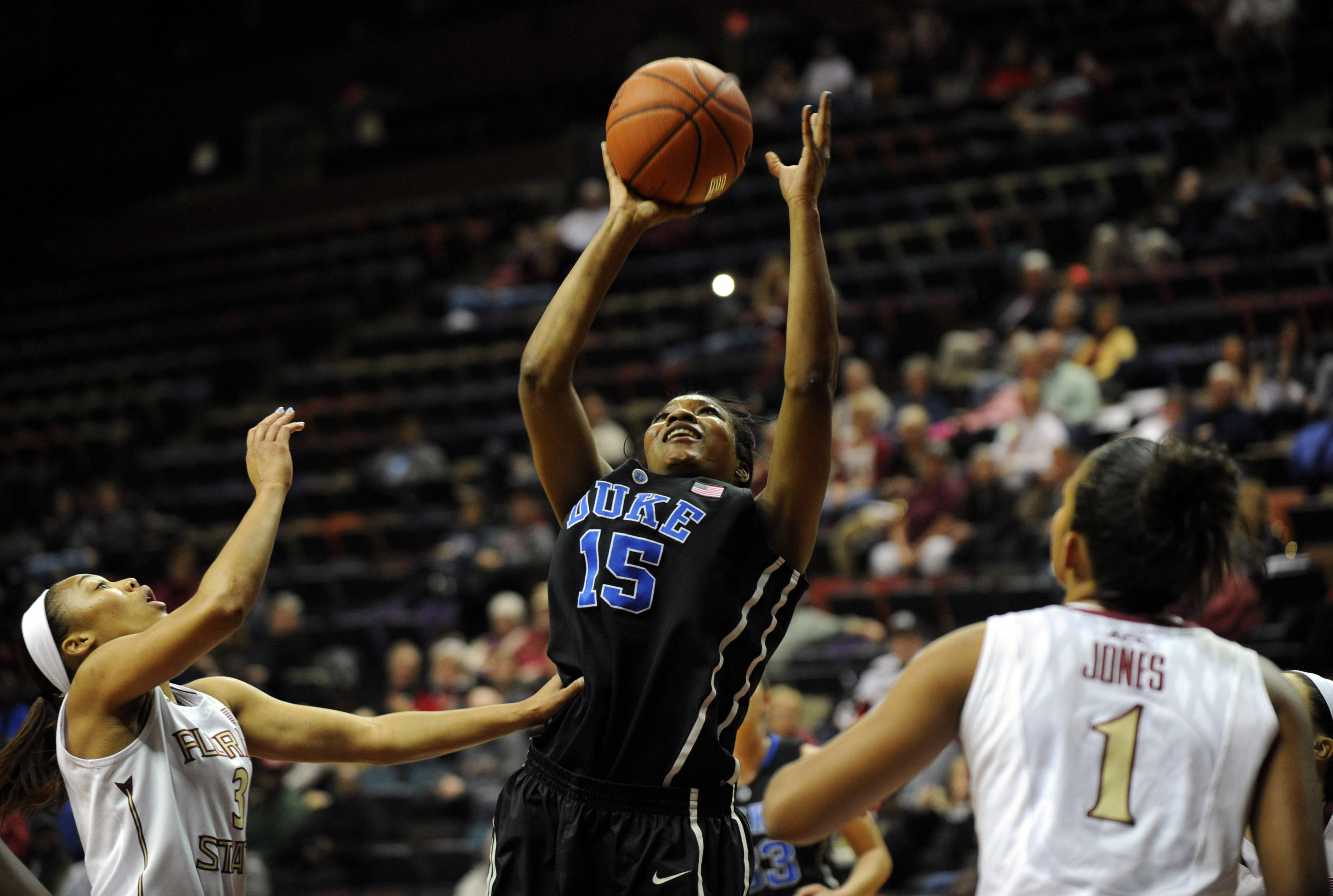 Jan 23, 2014; Tallahassee, FL, USA; Duke Blue Devils guard Richa Jackson (15) shoots the ball past Florida State Seminoles guard Emiah Bingley (3) during the first half of the game at the Donald L. Tucker Center (Tallahassee). Mandatory Credit: Melina Vastola-USA TODAY Sports