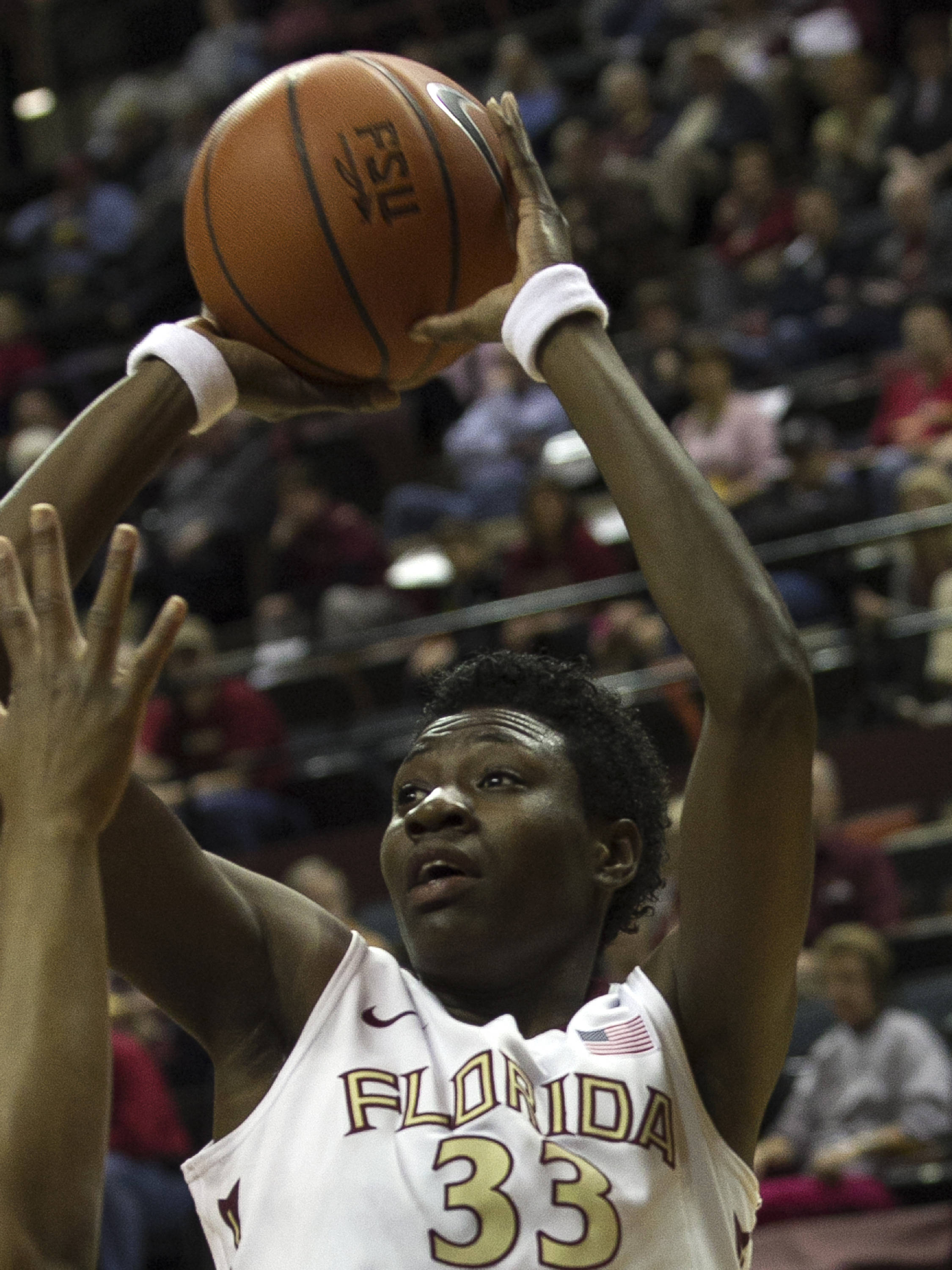 Natasha Howard (33) releases a jumper, FSU vs Miami, 2-16-14, (Photo's by Steve Musco)
