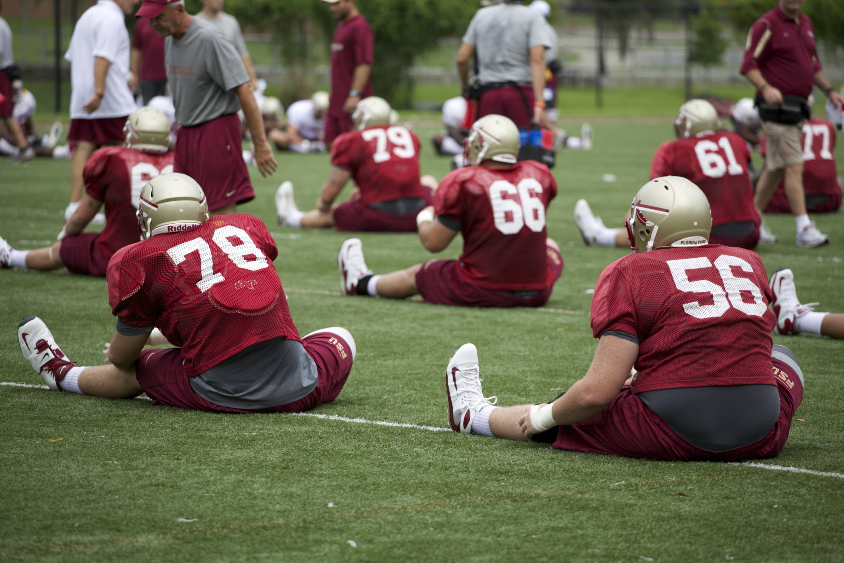 Offensive linemen stretching