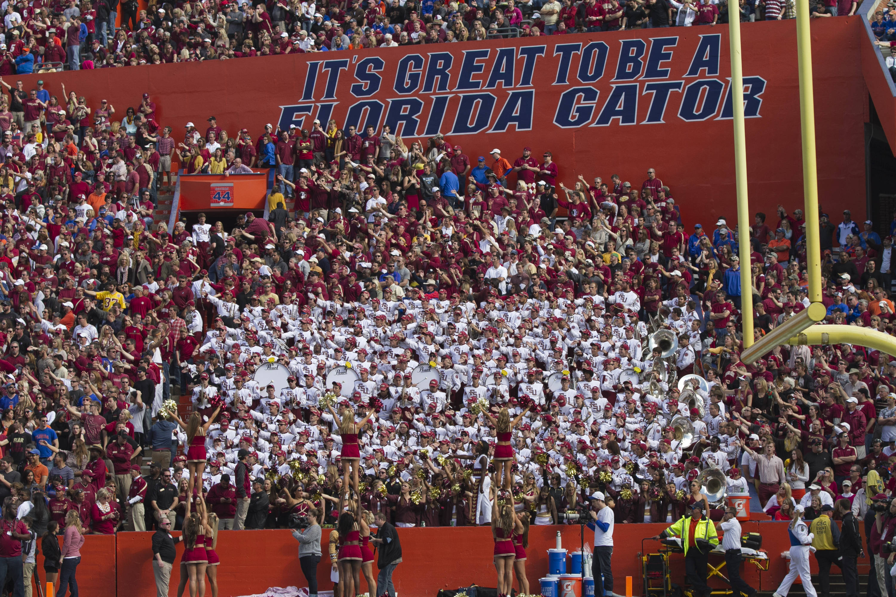 "The Marching Chiefs, cheerleaders and fans show that ""it's great to be a Nole"", FSU vs Florida, 11-30-13,  (Photo by Steve Musco)"