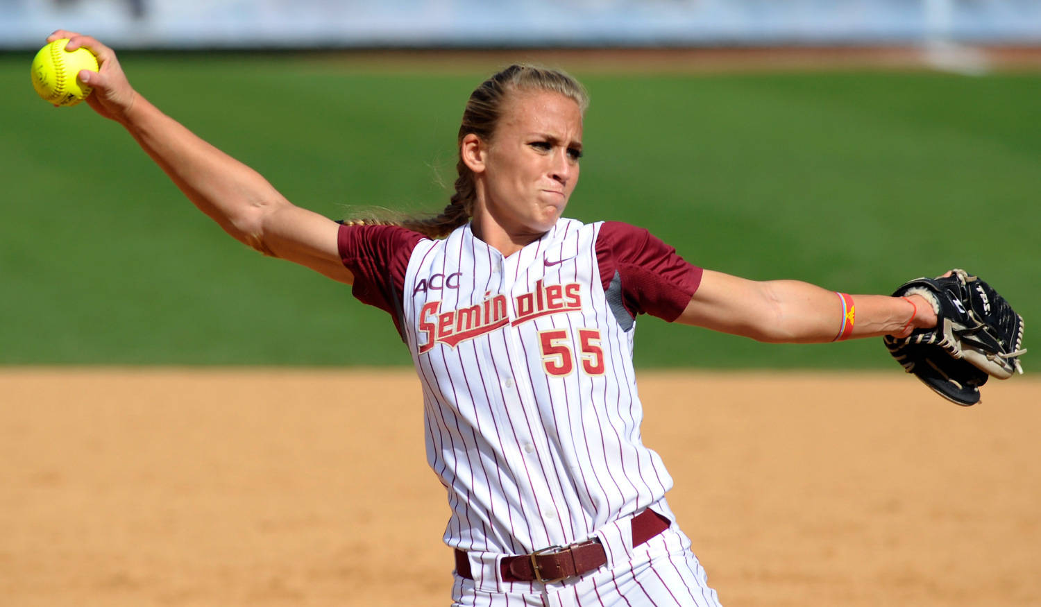 Florida State's Monica Perry (55) pitches during the ACC Softball Championship Quarterfinals May 10, 2012 in Chapel Hill, N.C. (Photo by Sara D. Davis/theACC.com)
