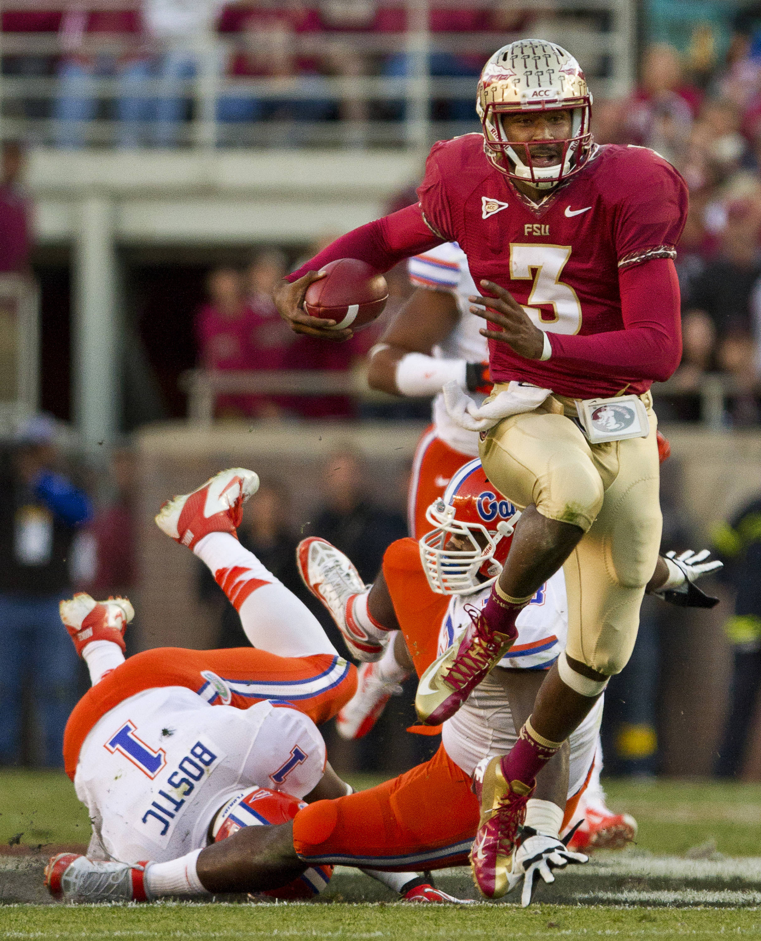 EJ Manuel (3) carries the ball during FSU Football's game against UF on Saturday, November 24, 2012 in Tallahassee, Fla.