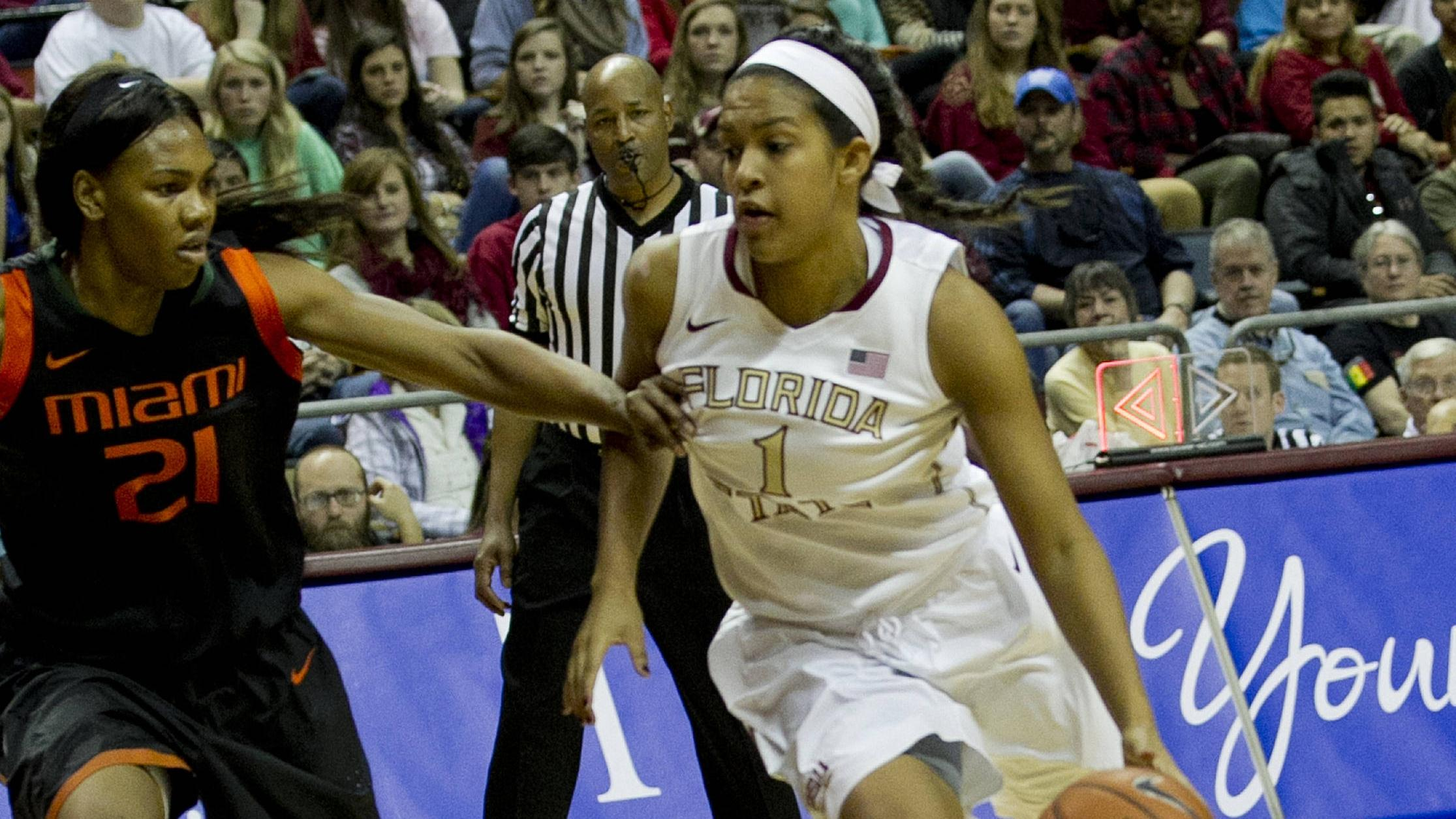 Morgan Jones (1) starting her drive from the top of the key, FSU vs Miami, 2-16-14, (Photo's by Steve Musco)