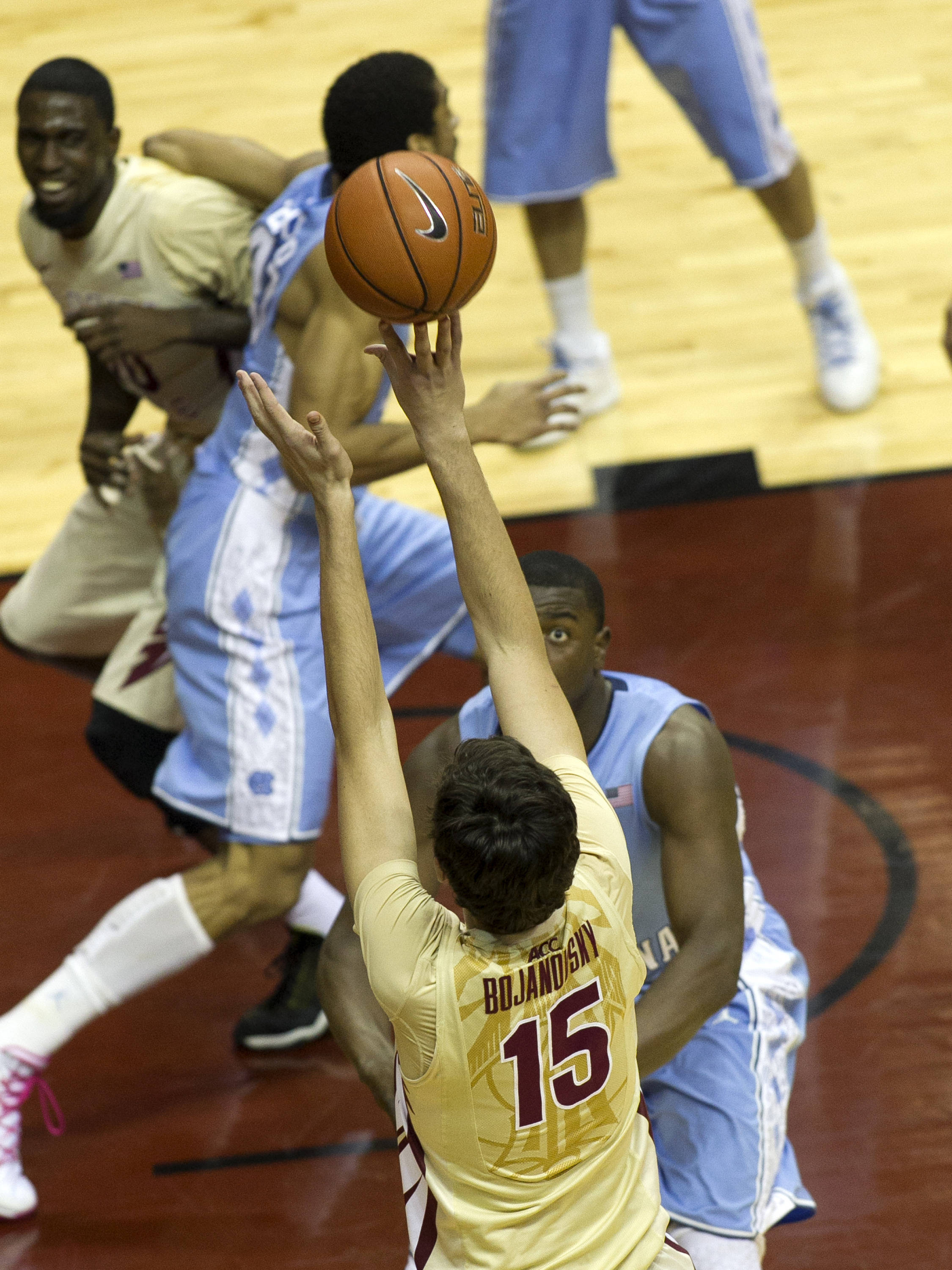 Boris Bojanovsky (15) releasing his jumper, FSU vs North Carolina, 2-17-14, (Photo's by Steve Musco)