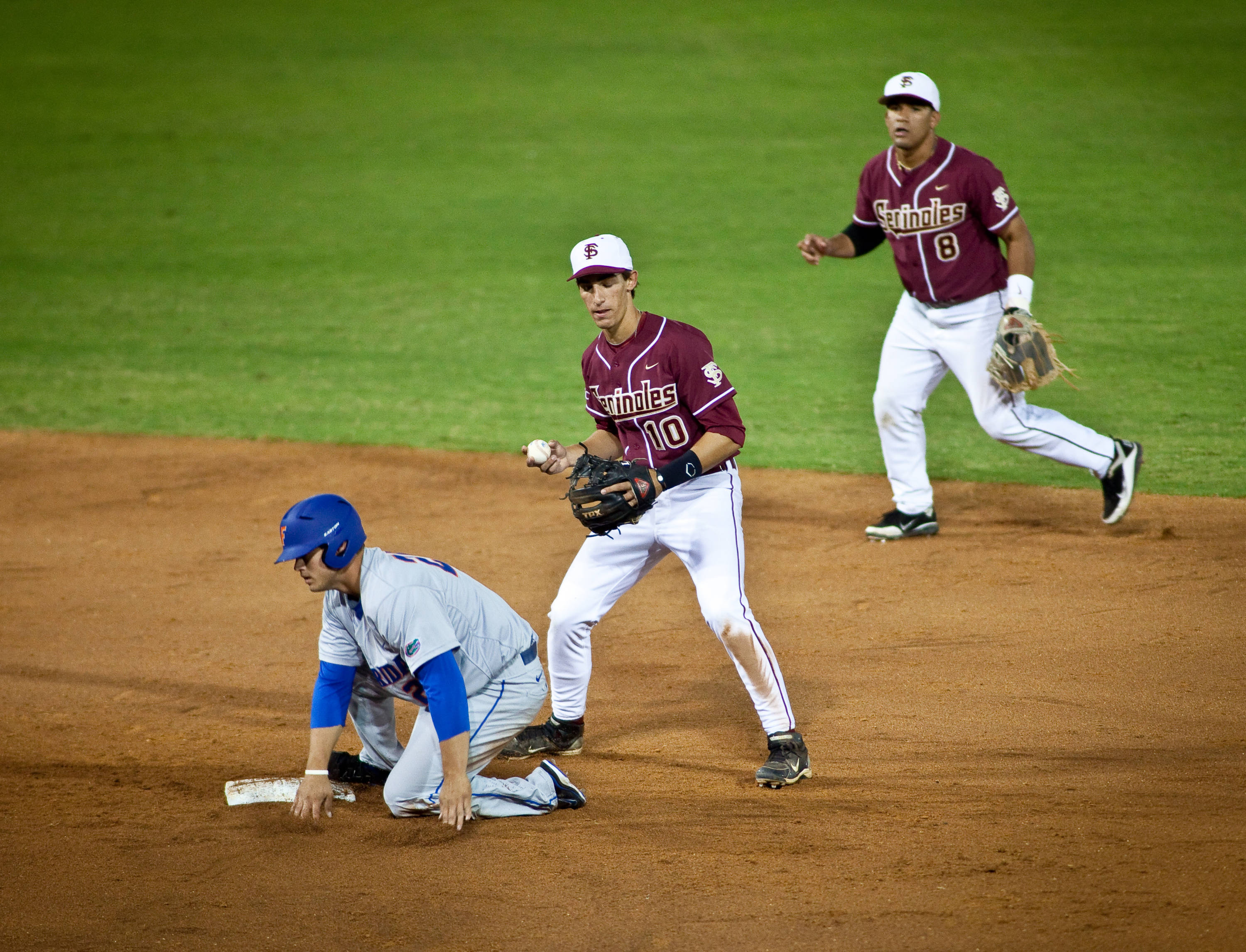 Devon Travis (8) to Justin Gonzalez (10) for the force out at 2nd