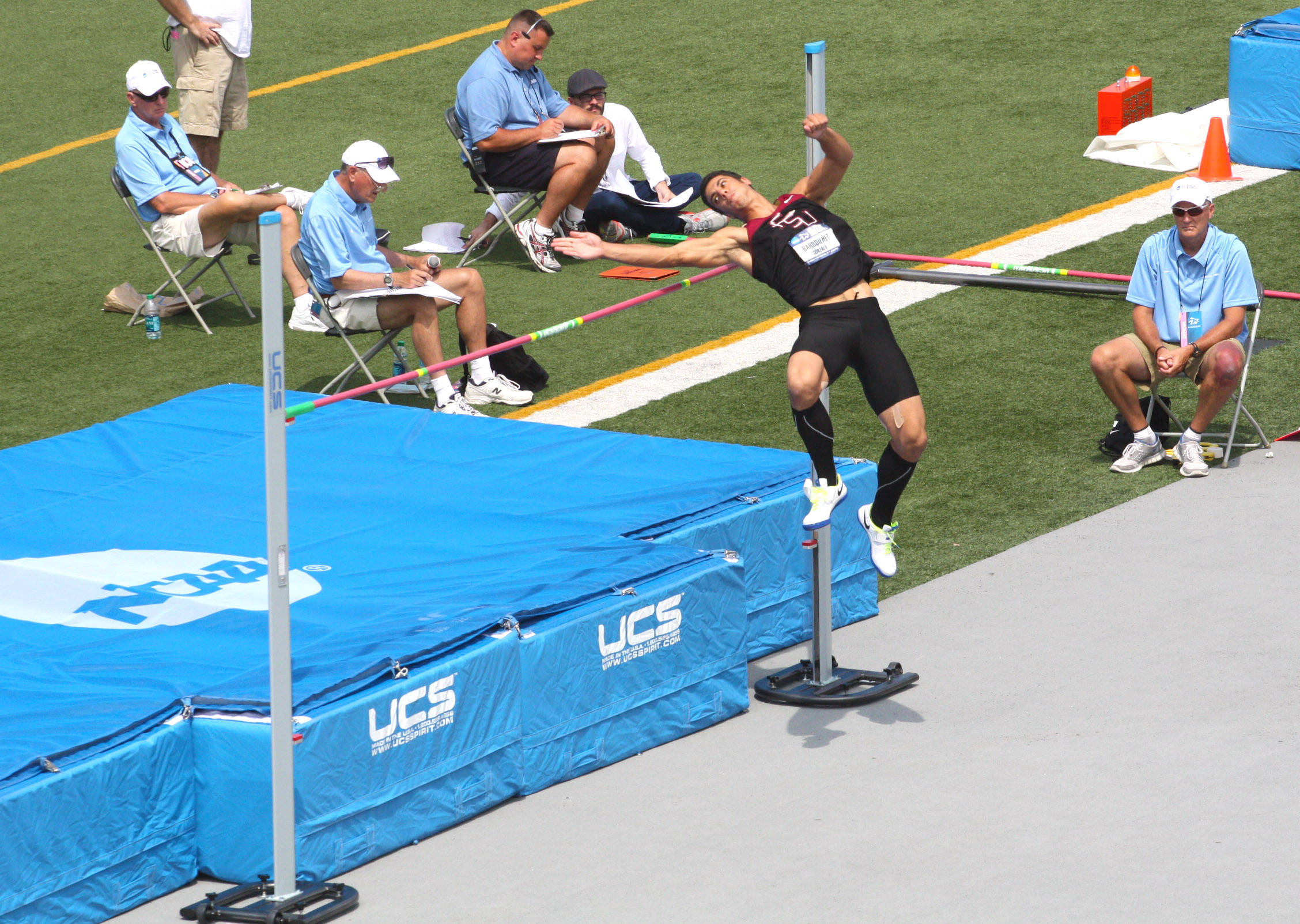 Gonzalo Barroilhet clears 1.96 meters in the high jump portion of the decathlon at the NCAA Championship.