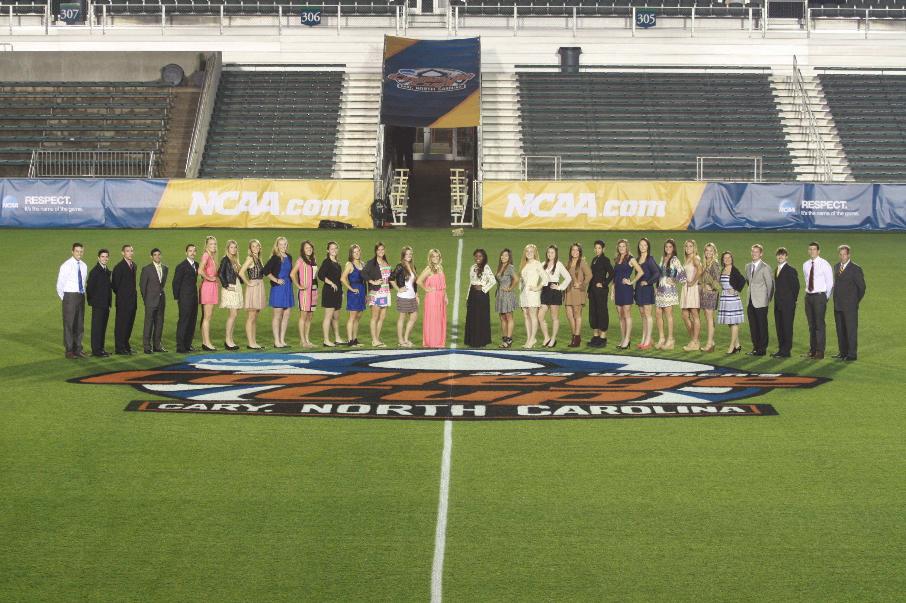 The Seminoles on the game field inside WakeMed Park before Thursday night's banquet