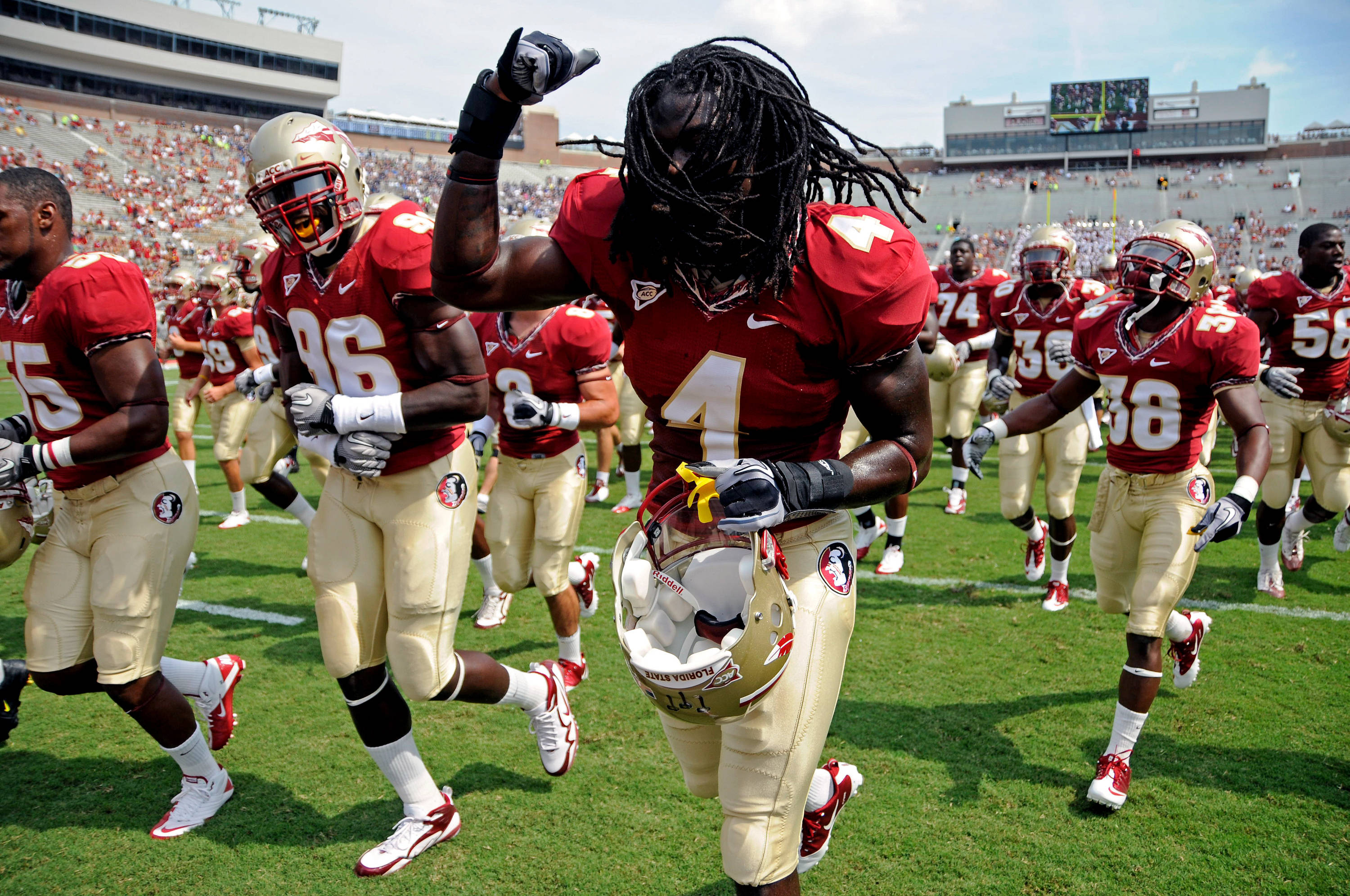 Players excited before the game