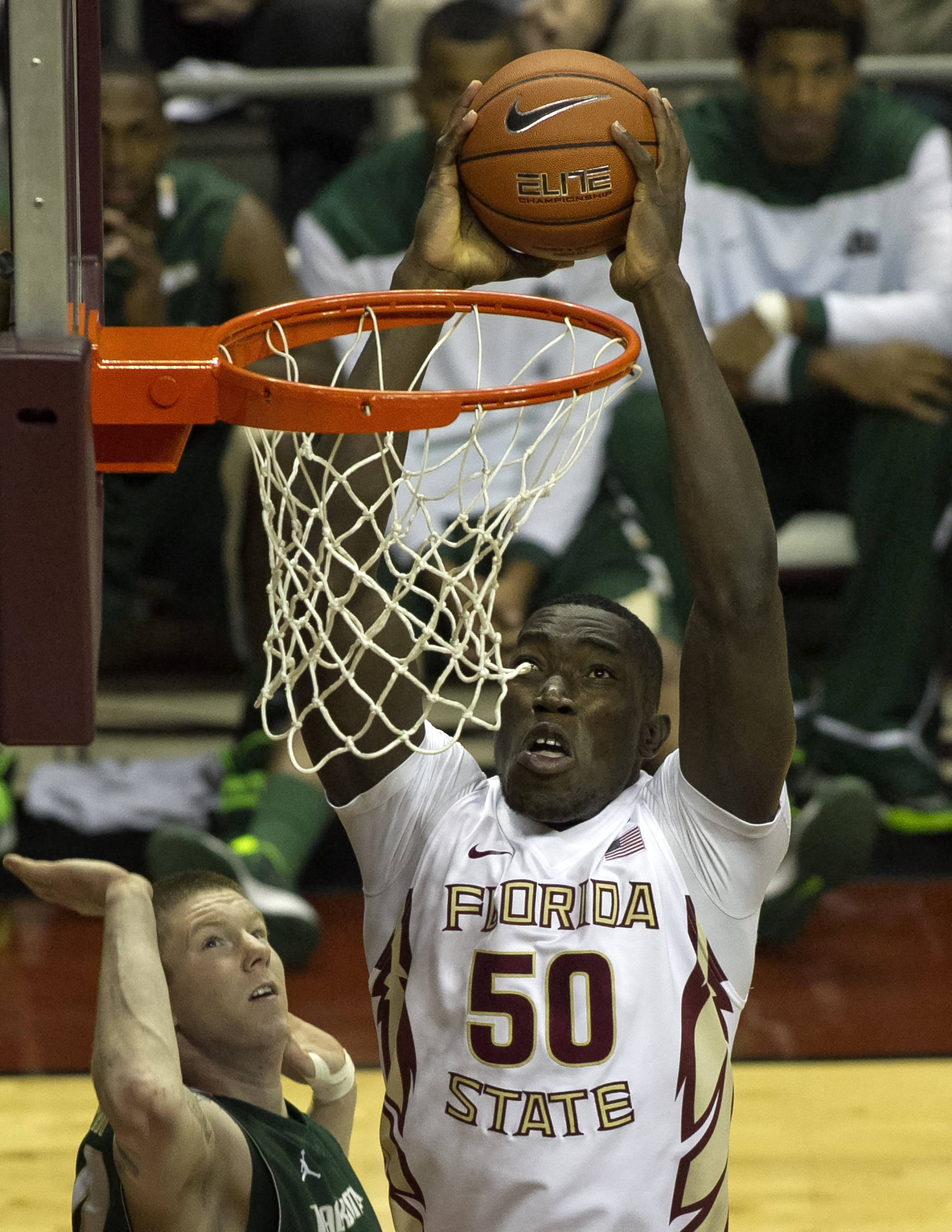 Michael Ojo, FSU vs Jacksonville,  11-8-13, (Photo by Steve Musco)