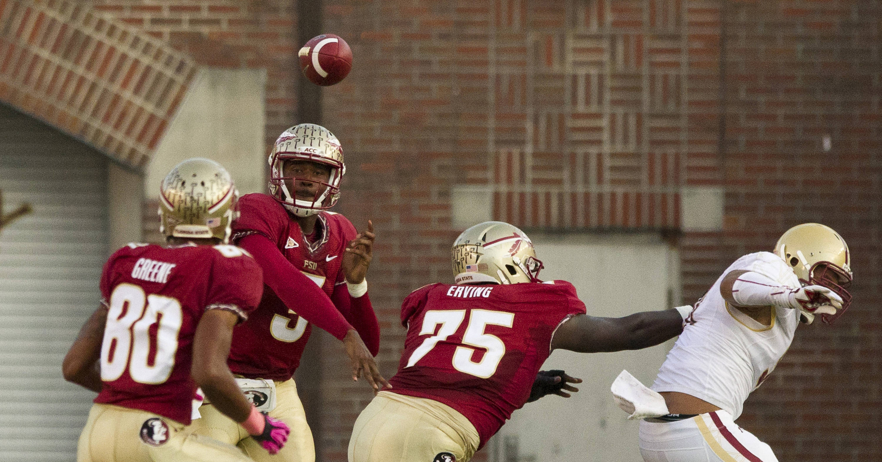EJ Manuel (3) throws a pass during the FSU vs Boston College football game on October 13, 2012 in Tallahassee, Fla.